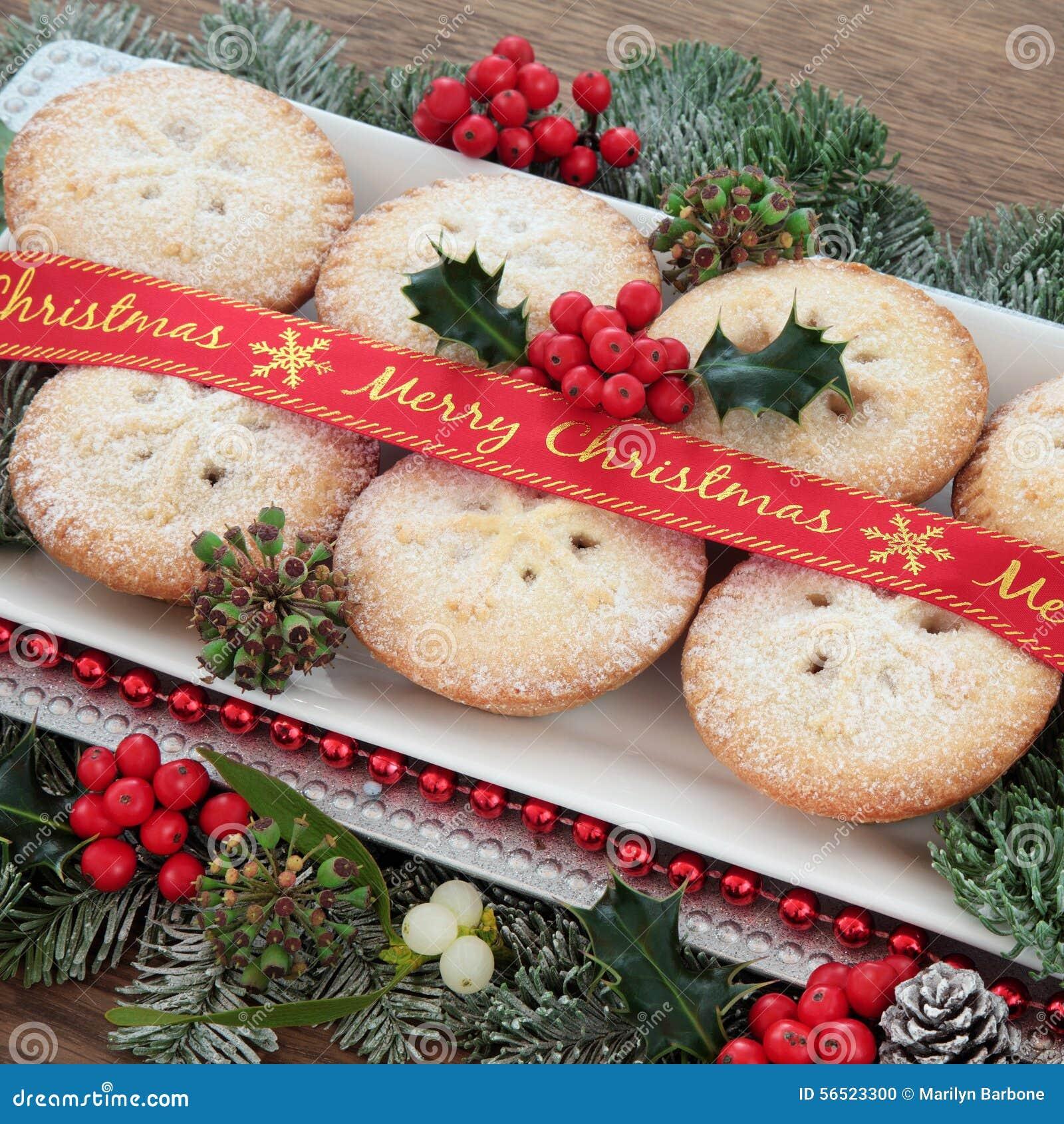 mince-pies-pie-cakes-merry-christmas-ribbon-holly-mistletoe-winter ...