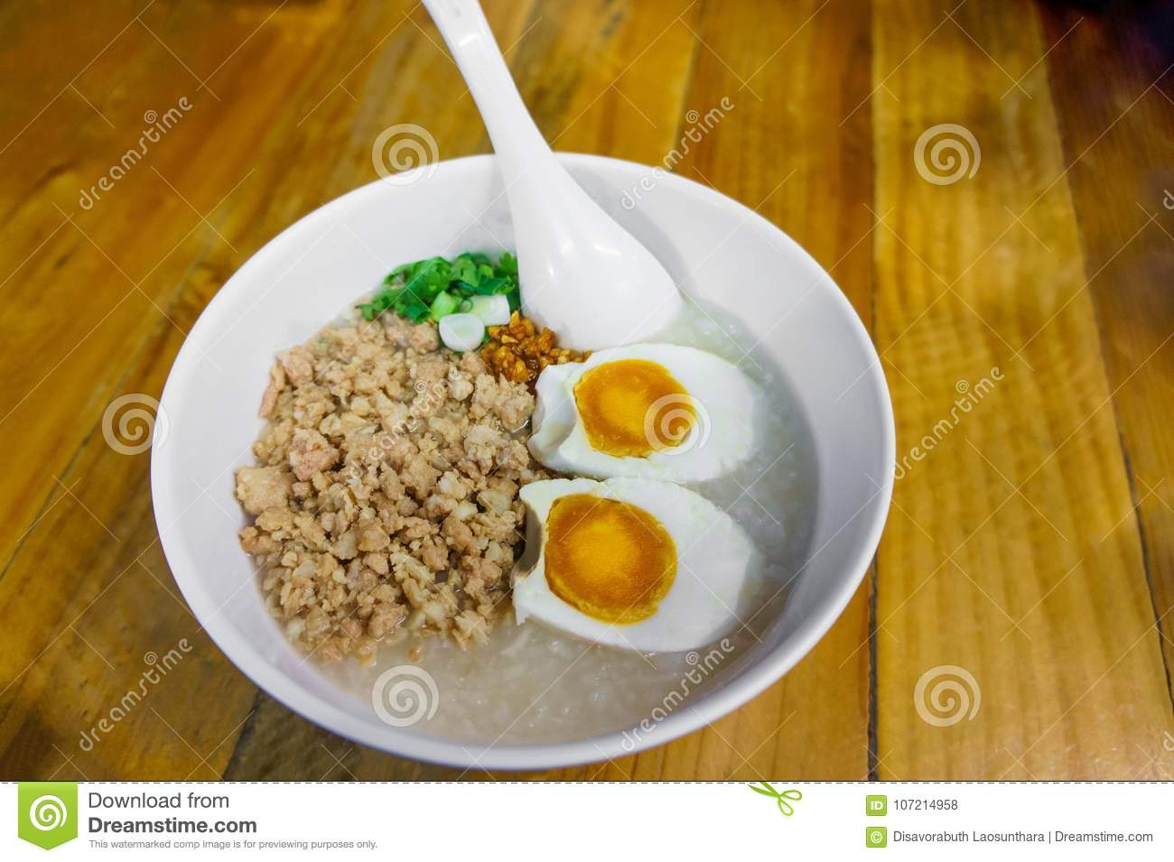 Minced pork congee with egg, fresh ginger
