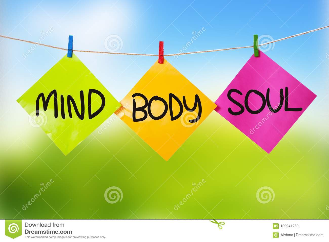 Mind Body Soul Inspirational Text Stock Photo Image Of Sign