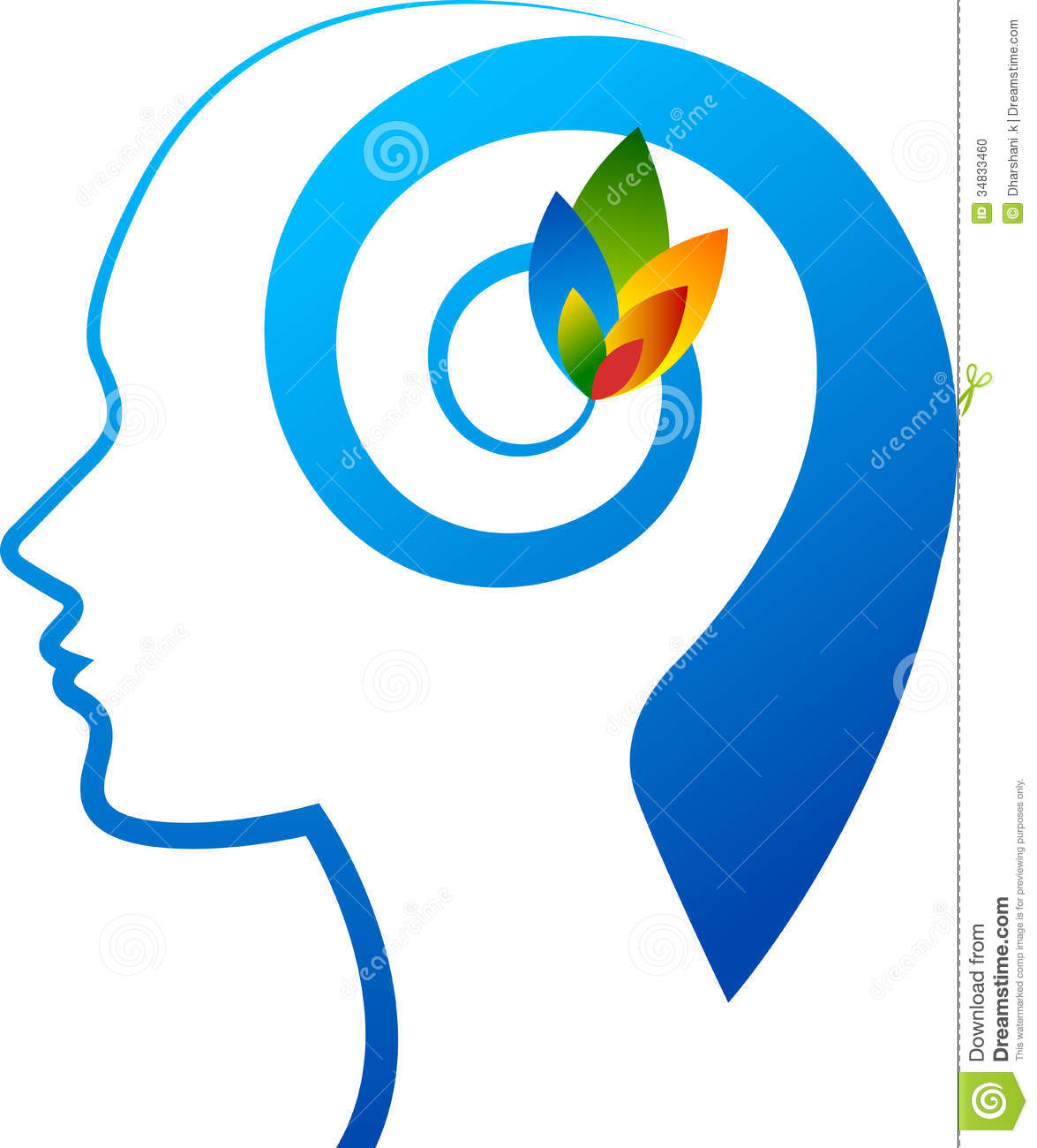 Illustration art of a mind flower logo with isolated background.