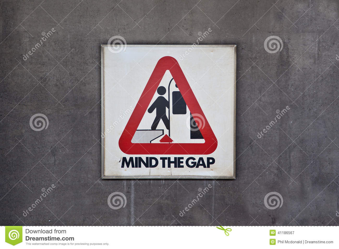 Mind The Gap Sign Stock Image Image Of Warning Wall 41186567