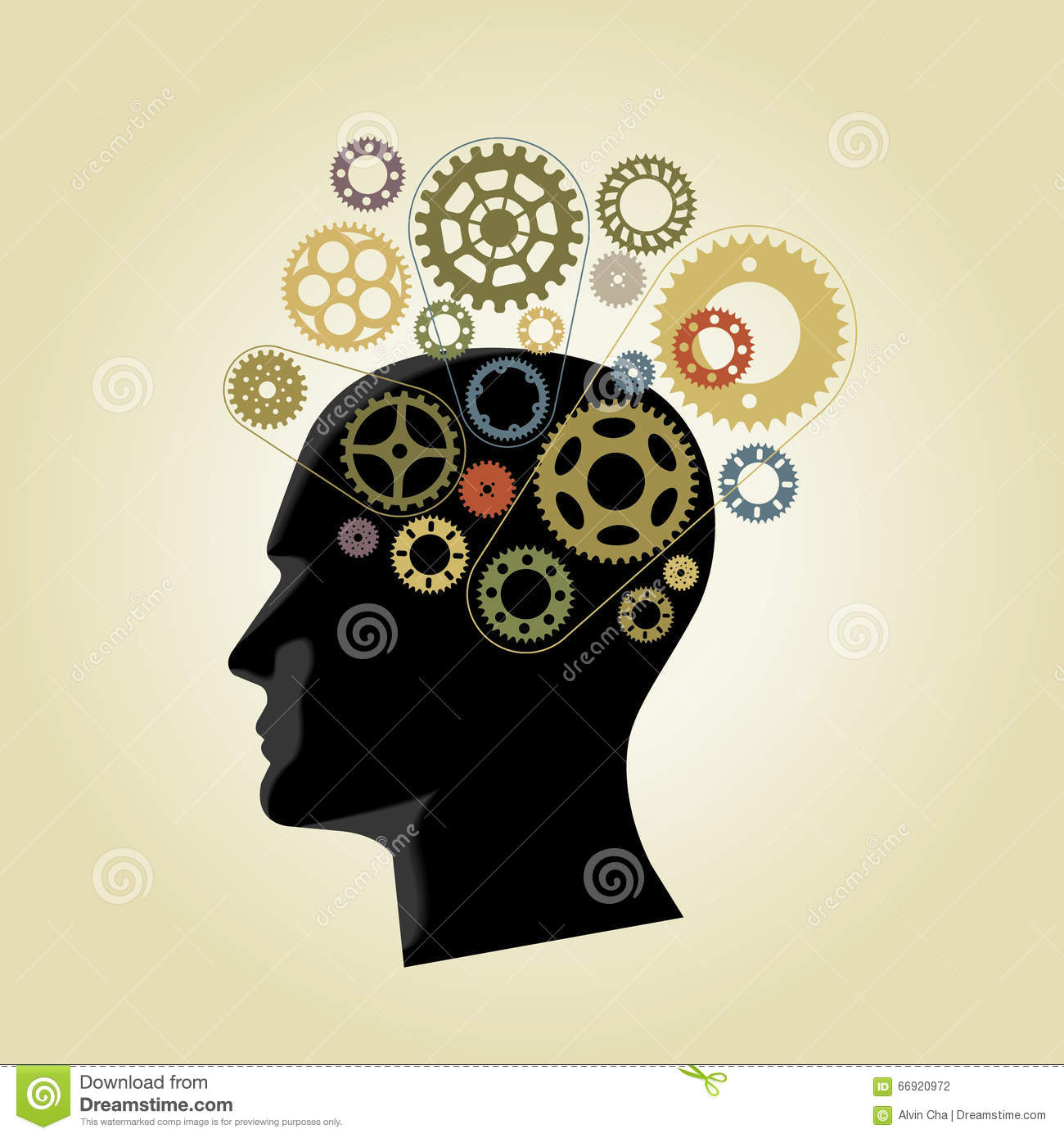 Silhouette of head with wheel gears in mind and sphere of hands ...