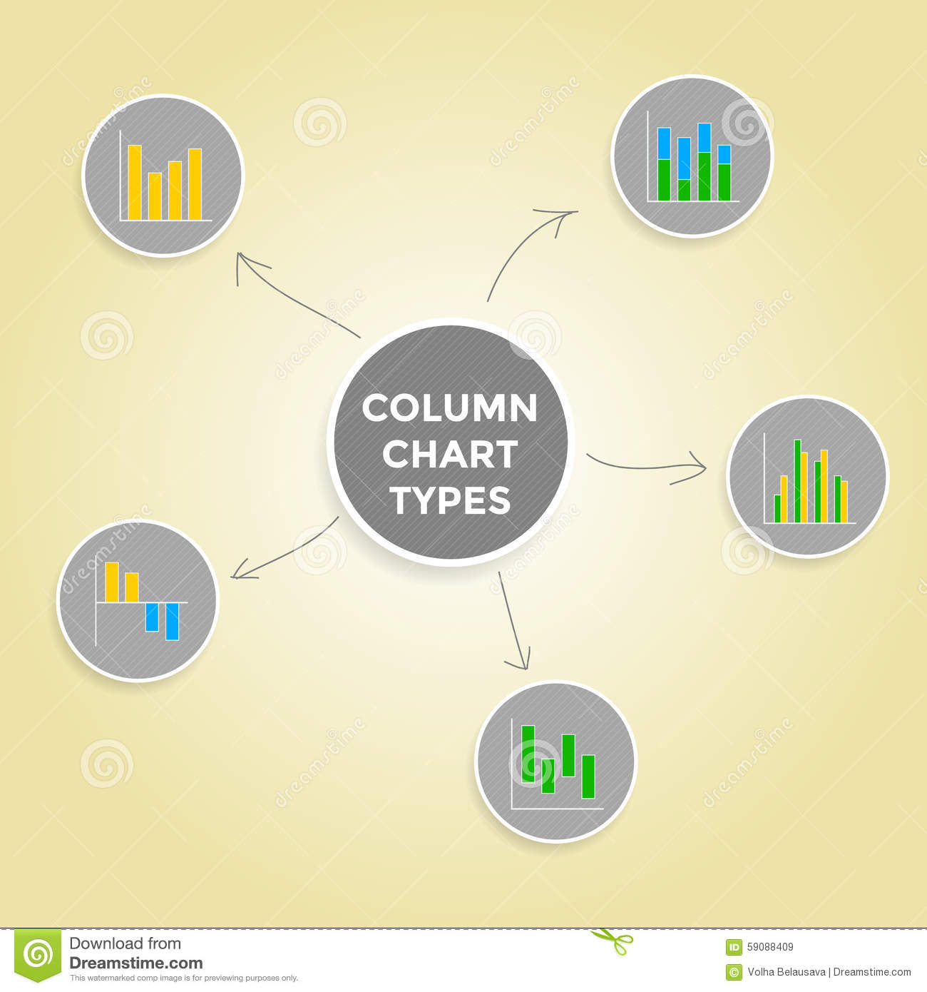 Mind map column chart types set of infographic elements collection mind map column chart types set of infographic elements collection ccuart Choice Image