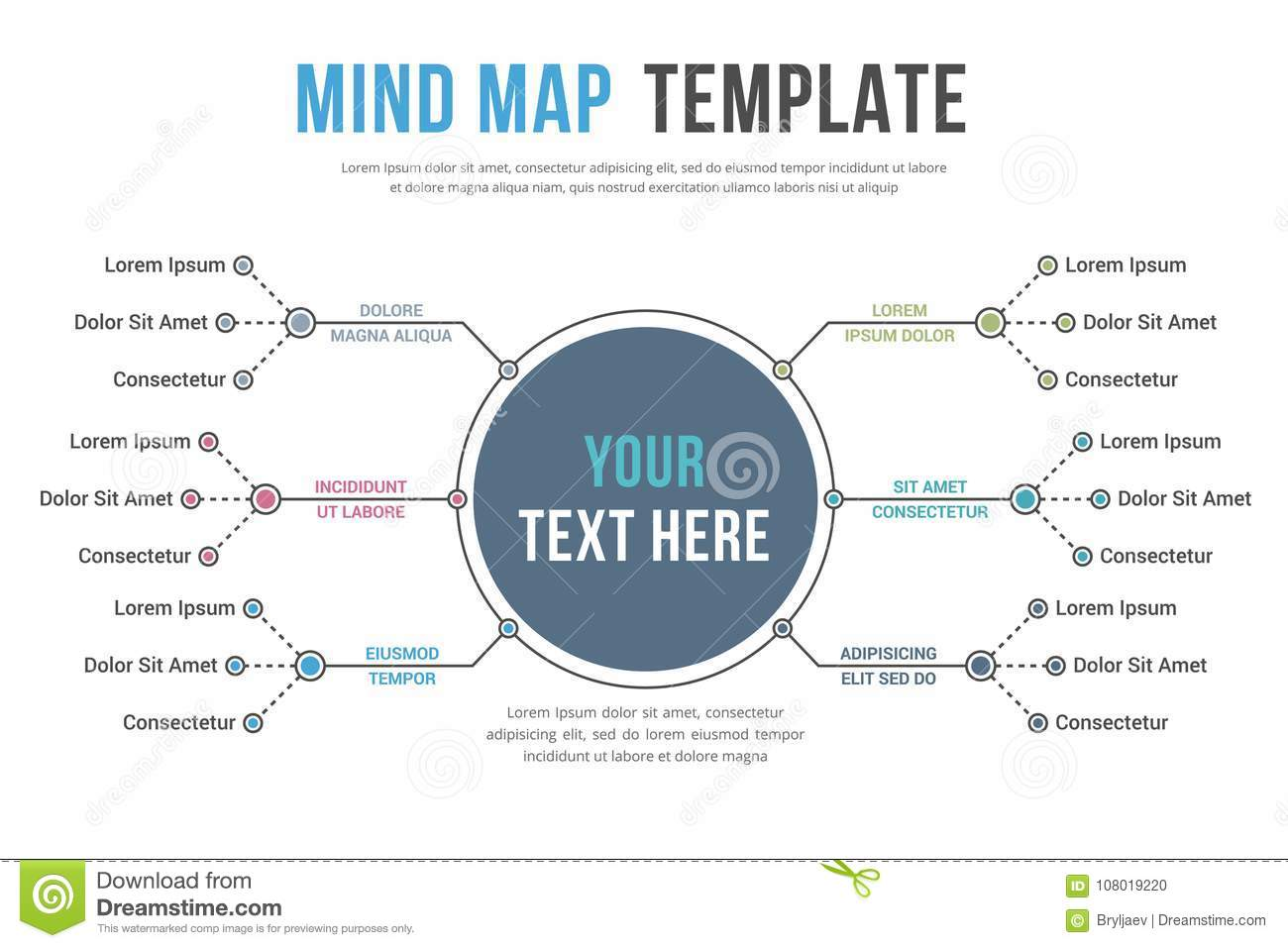 mind map template stock vector illustration of link 108019220