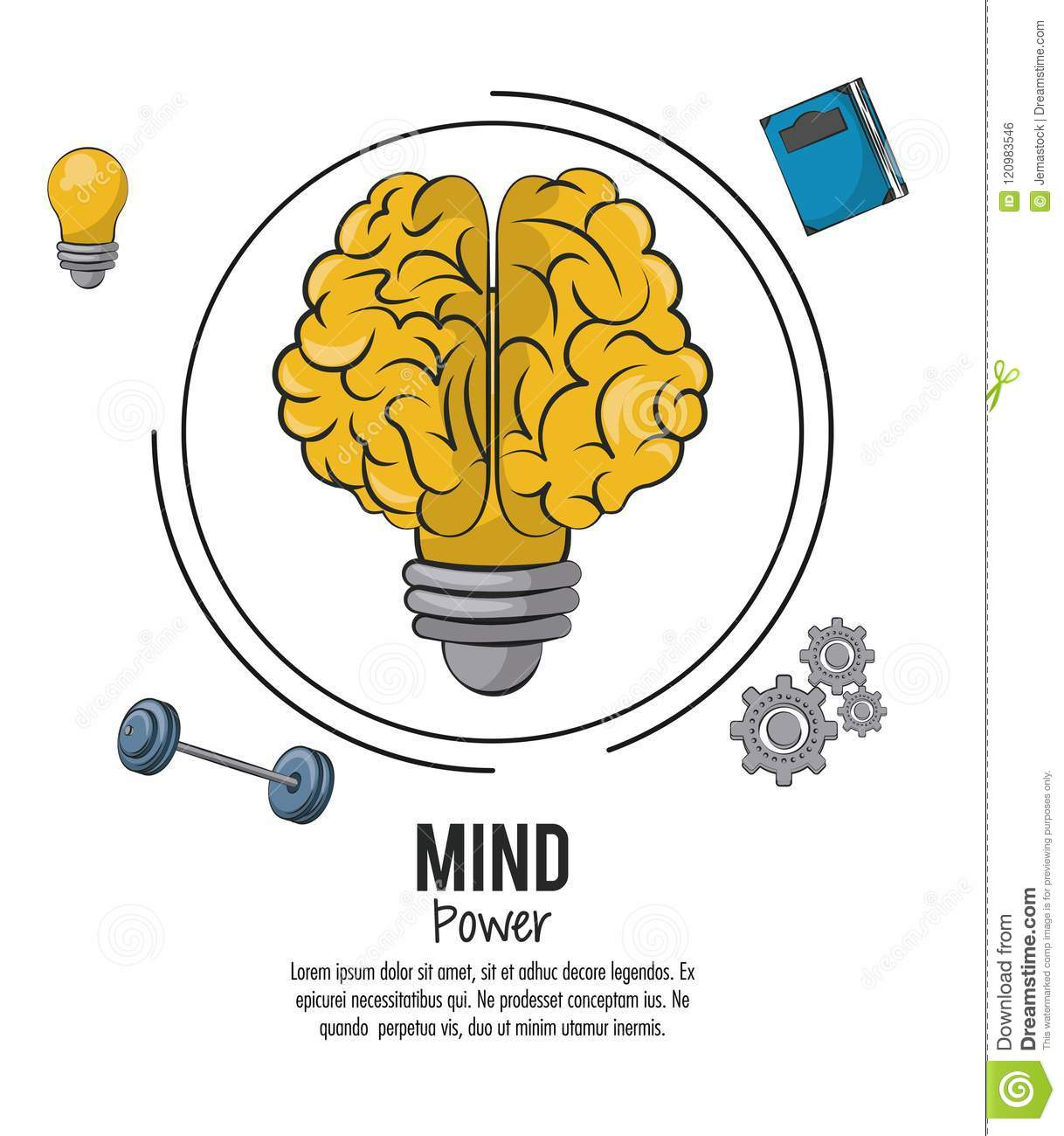Mind Power And Brain Template With Information Vector Illustration Graphic Design