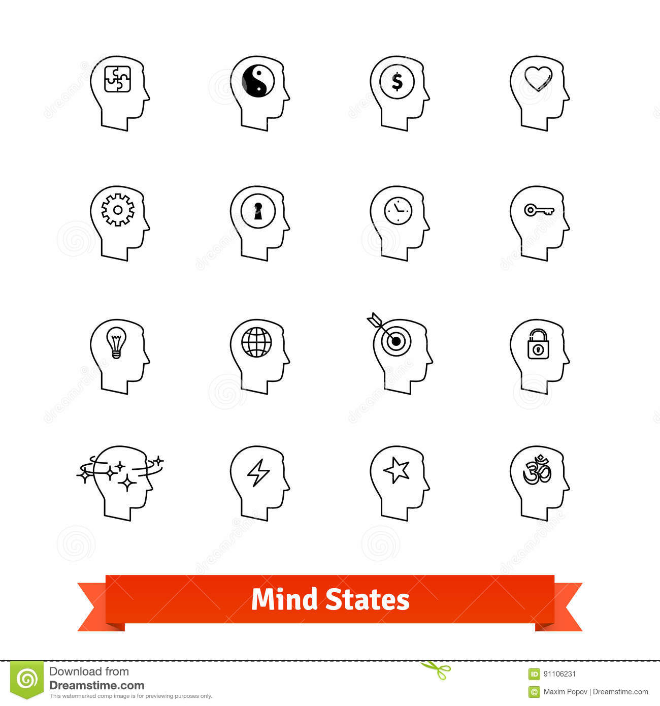 Line Art Icons : Mind states thin line art icons set stock vector image