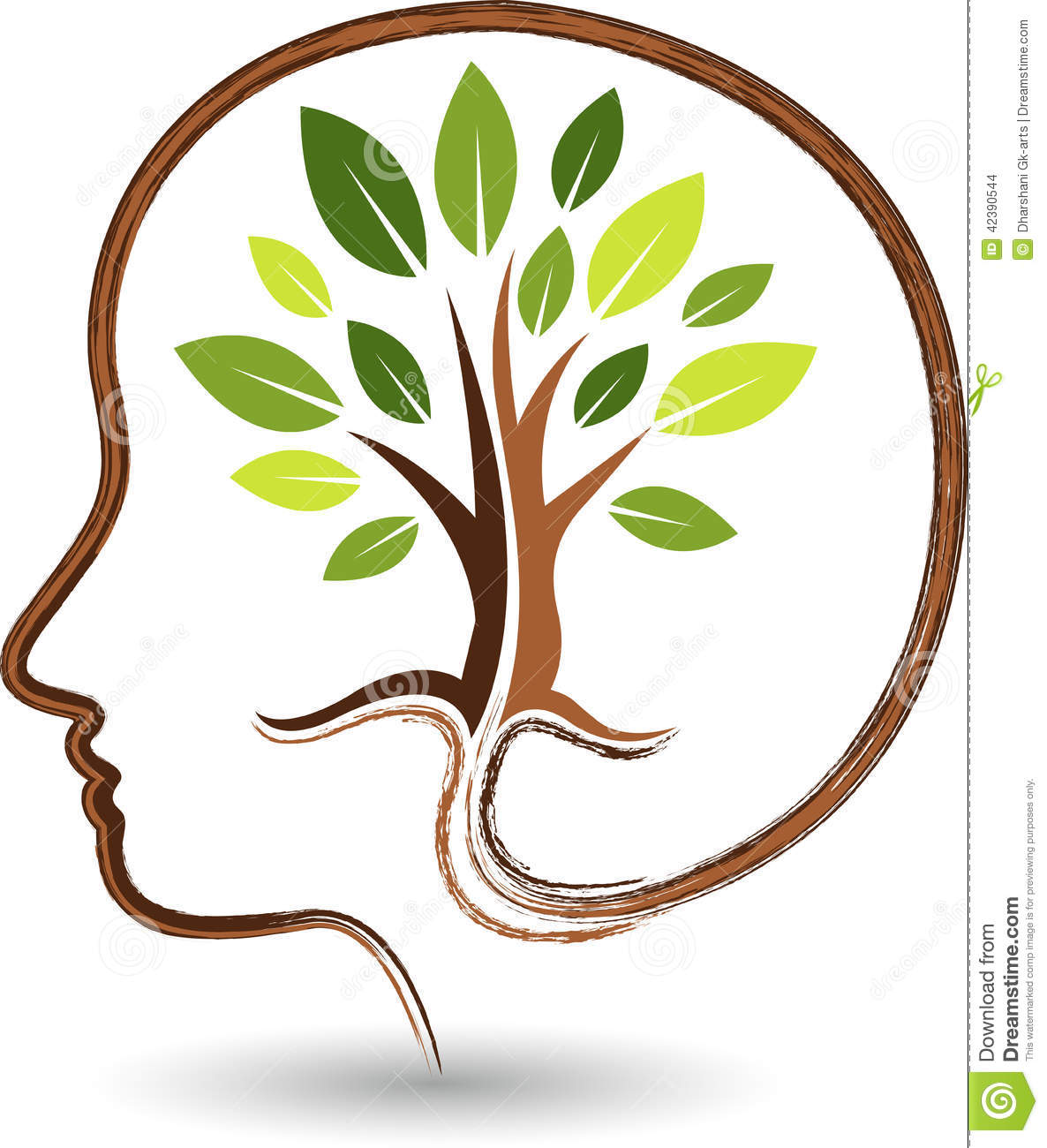 Illustration art of a mind tree logo with background.