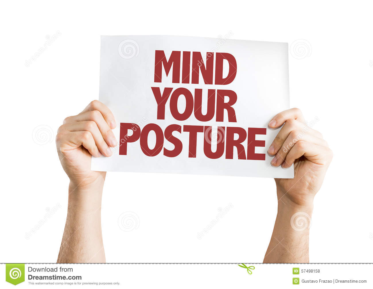 Mind Your Posture Card Isolated On White Stock Photo