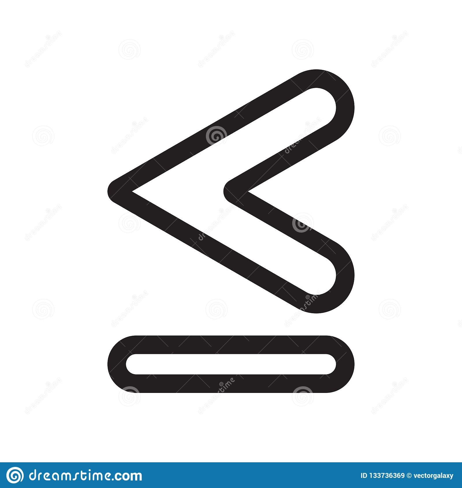 Is minder dan of gelijk aan het vectordieteken van het symboolpictogram en het symbool op witte achtergrond wordt geïsoleerd, is