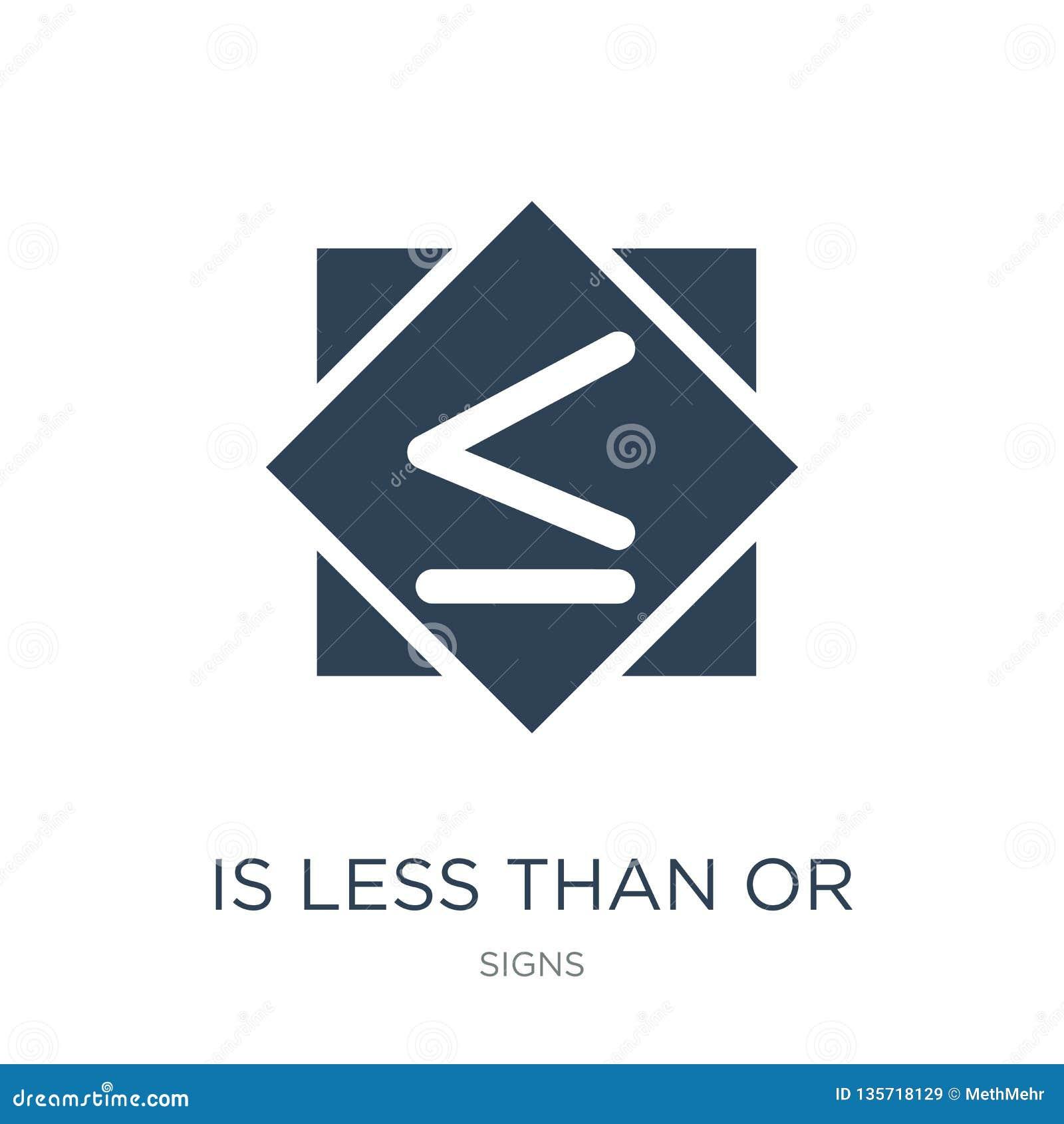 Is minder dan of gelijk aan pictogram in in ontwerpstijl is minder dan of gelijk aan pictogram op witte achtergrond wordt geïsole