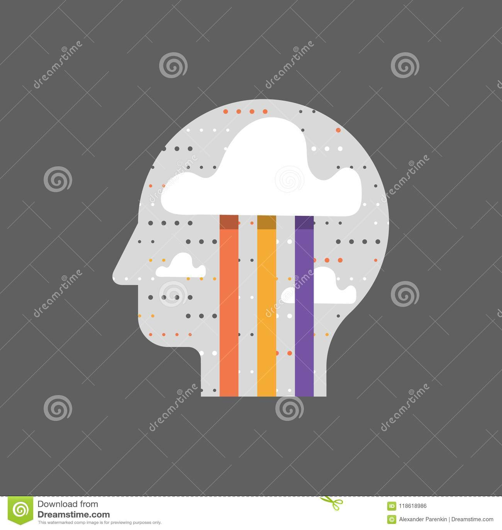 Mindfulness και θετική σκέψη, έννοια καταιγισμού ιδεών, δημιουργικότητα και φαντασία, ευτυχία και καλή διάθεση