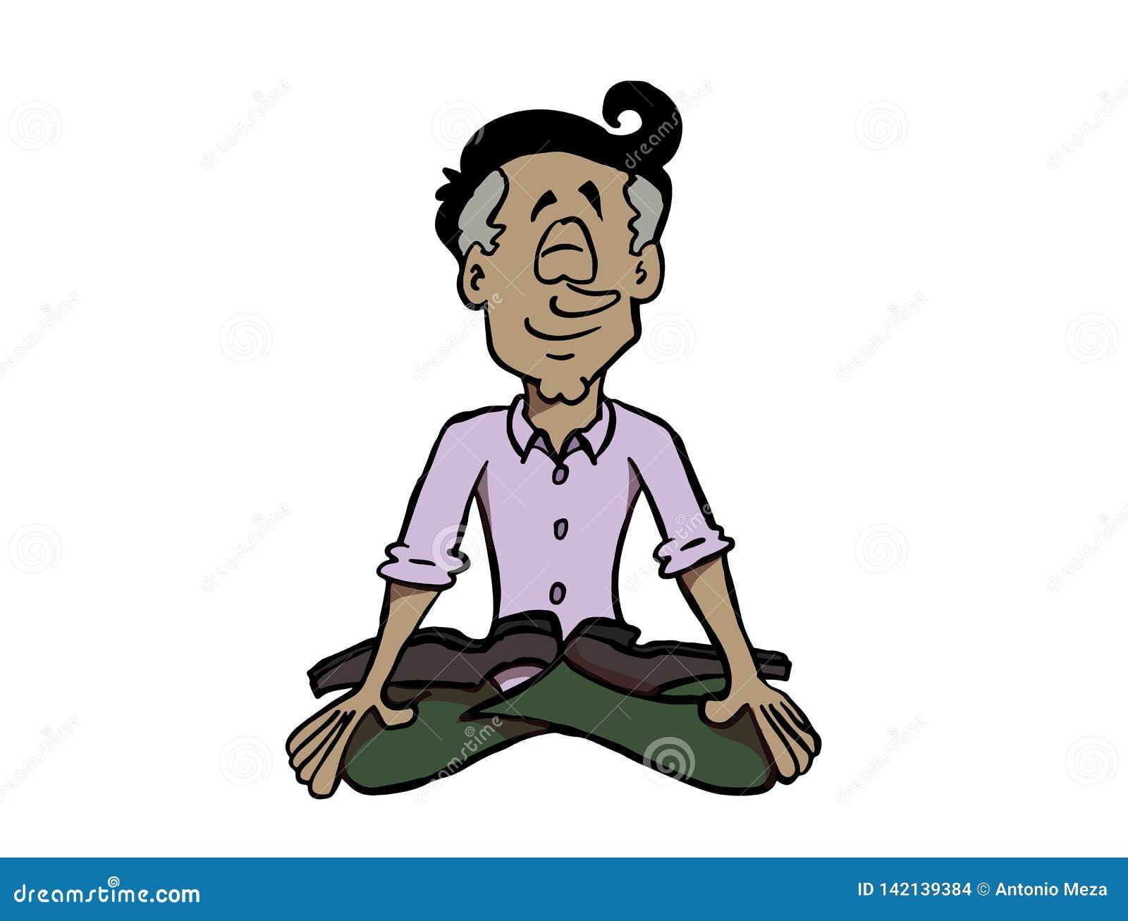 Latin Man Practicing Mindfulness Or Meditating Stock Vector