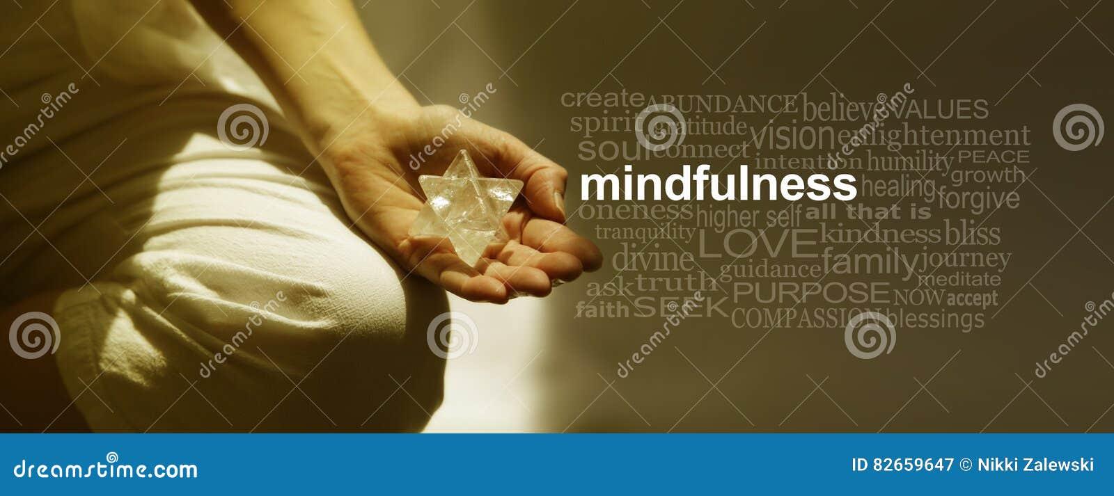 Mindfulness medytaci słowa chmury sztandar