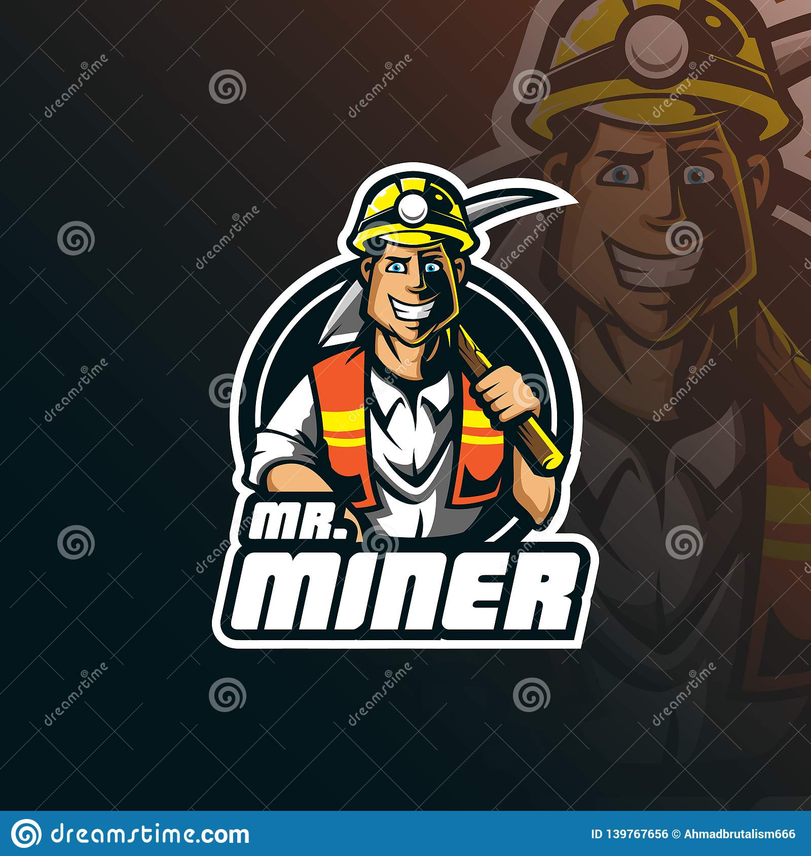 Miner vector mascot logo design with modern illustration concept style for badge, emblem and tshirt printing. smart miner