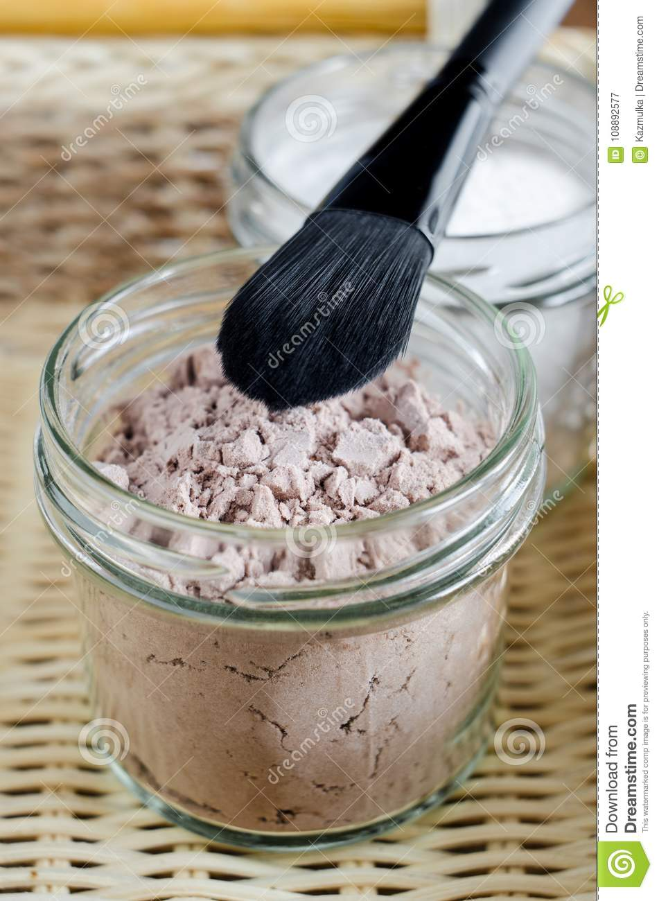 Mineral Homemade Powder Foundation Or Dry Shampoo In A Grass