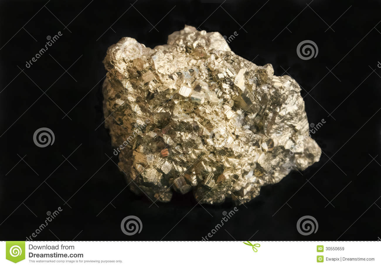 mineral iron pyrite fools gold nugget stock image