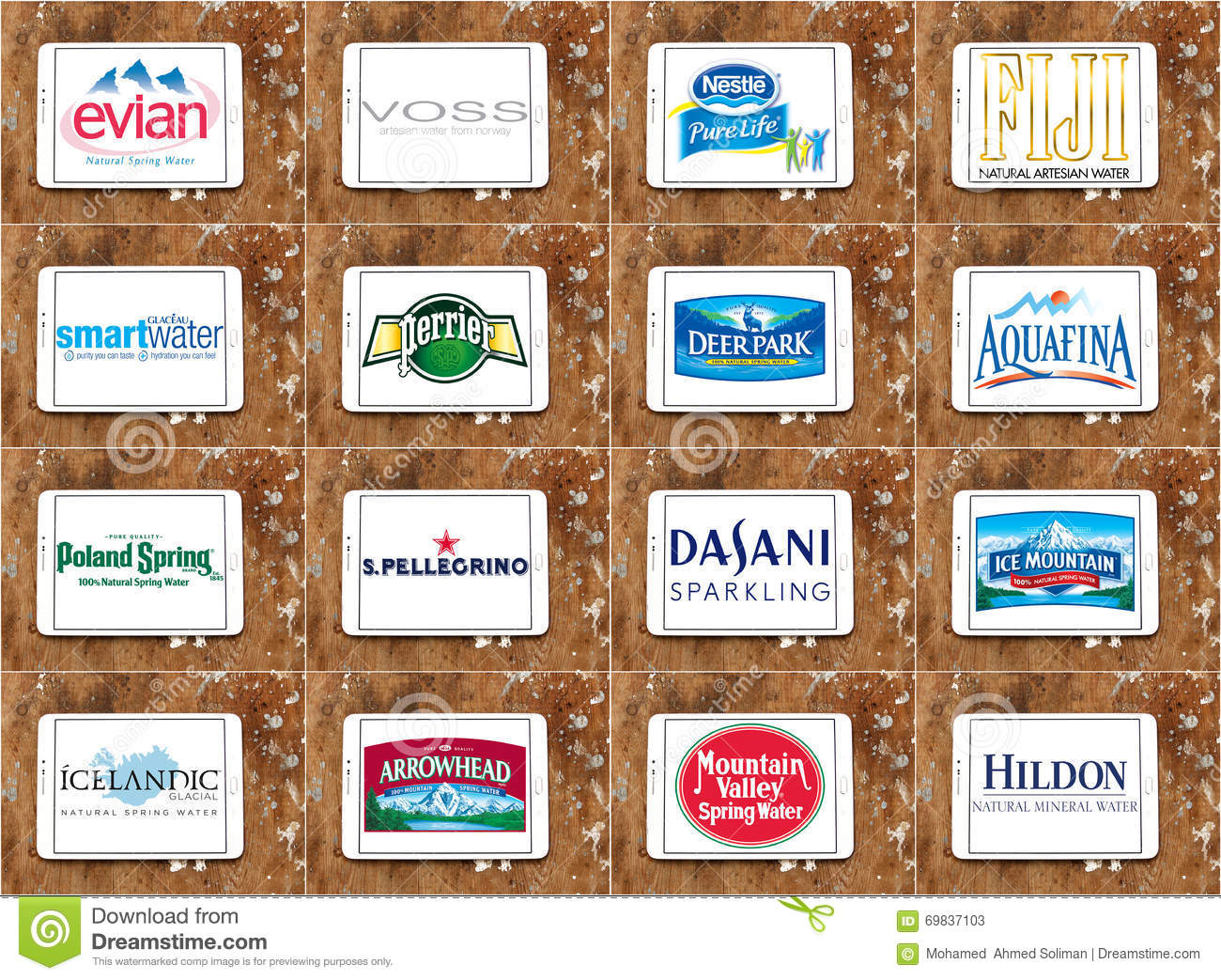 Mineral Water Brands And Logos Editorial Stock Photo - Image of