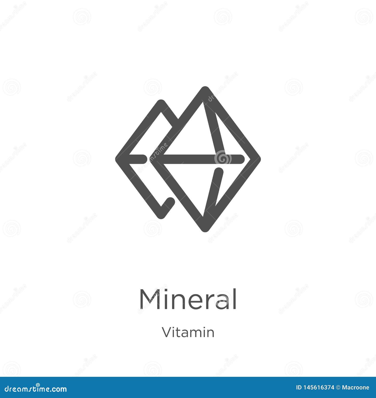 Mineralikonenvektor von der Vitaminsammlung Dünne Linie Mineralentwurfsikonen-Vektorillustration Entwurf, dünne Linie Mineralikon