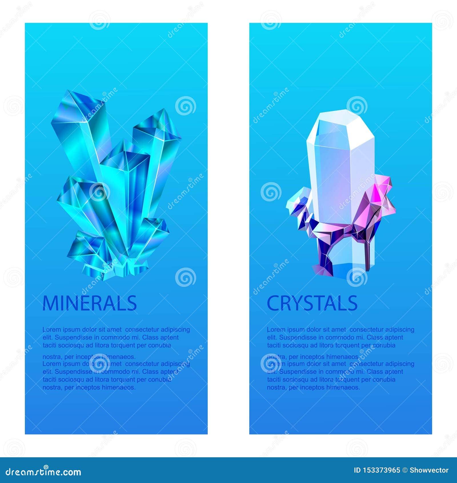 Mineralisk crystalic ädelstenvektorillustration Genomskinliga exponeringsglaskristaller som isoleras på blå bakgrund brigham