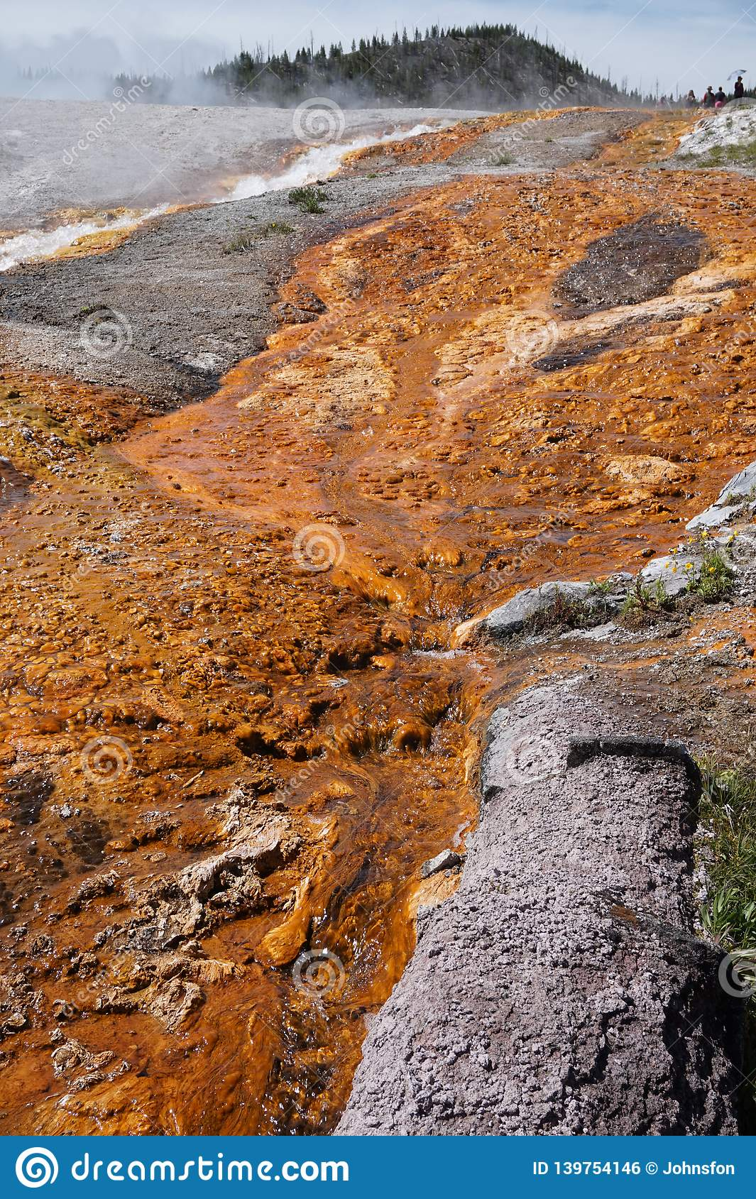 Solidified rust colored mineral deposits