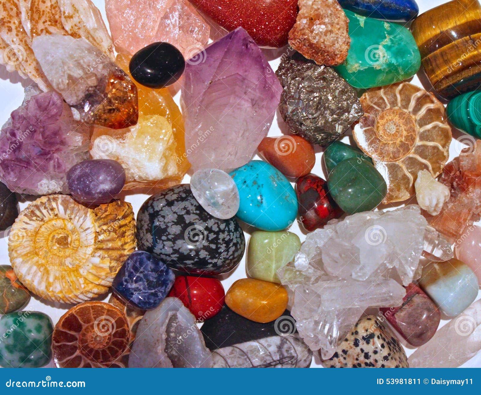 Minerals crystals and semi precious stones