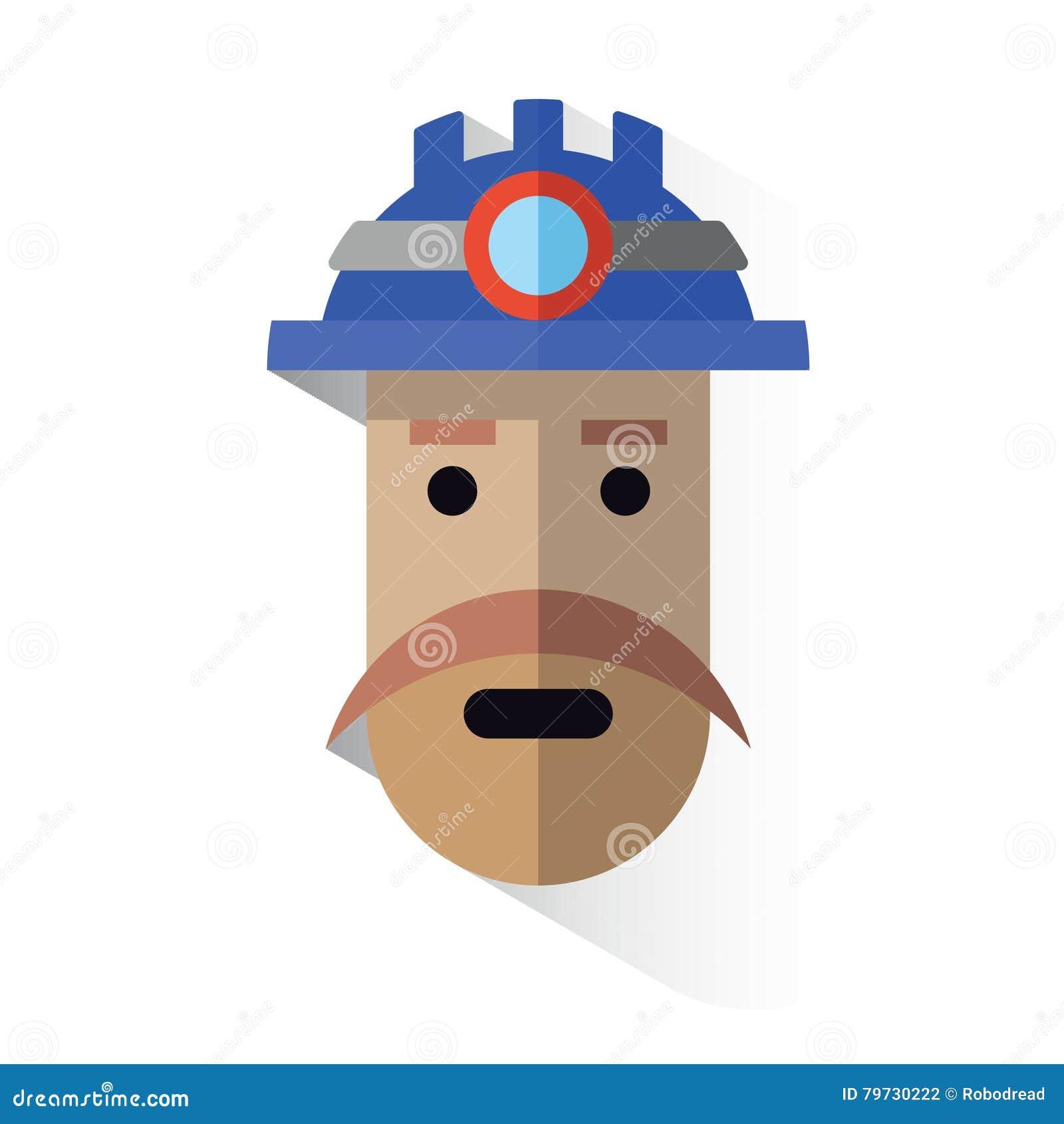 Minero de la cara del icono con el casco
