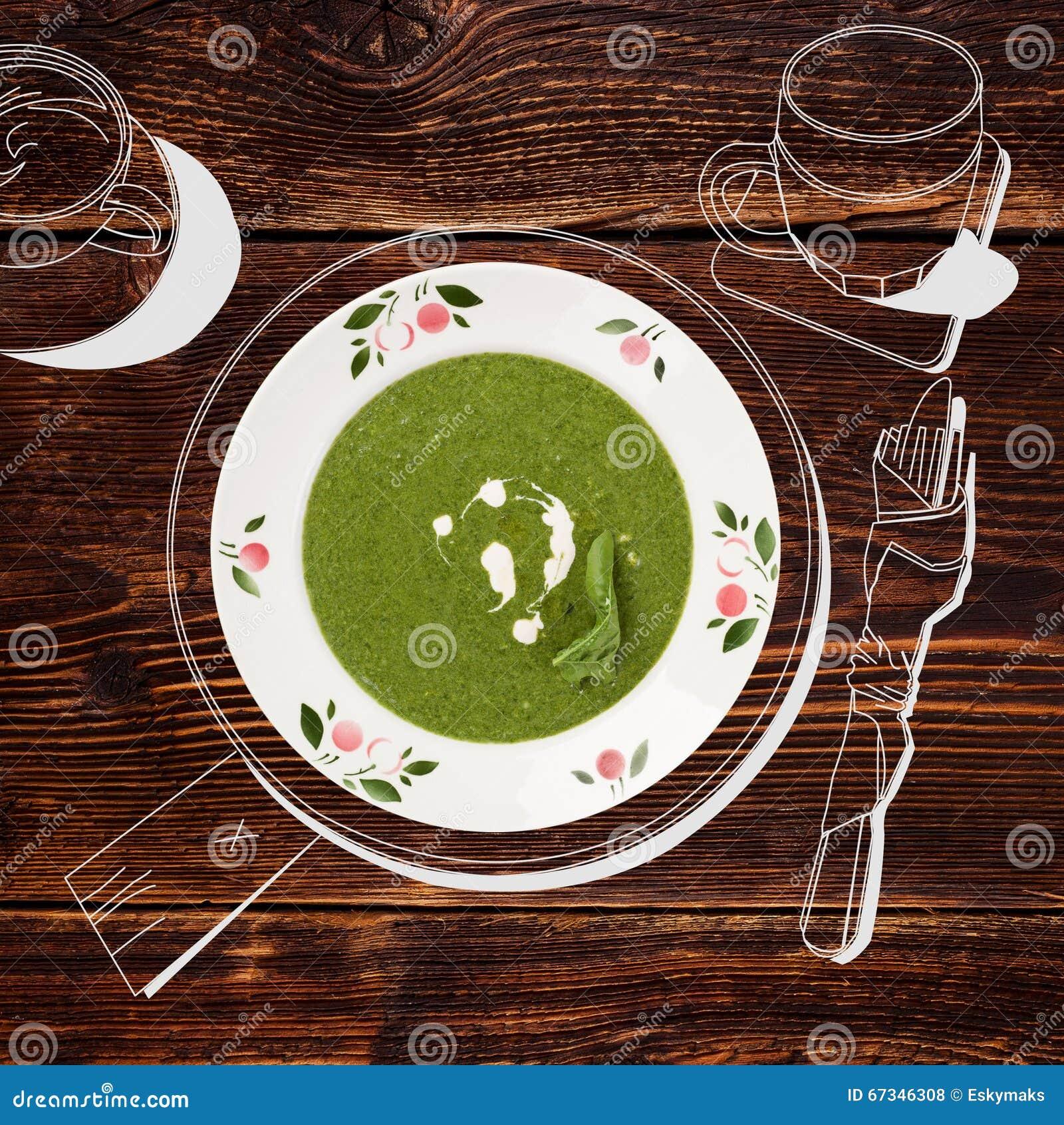 Minestra deliziosa degli spinaci