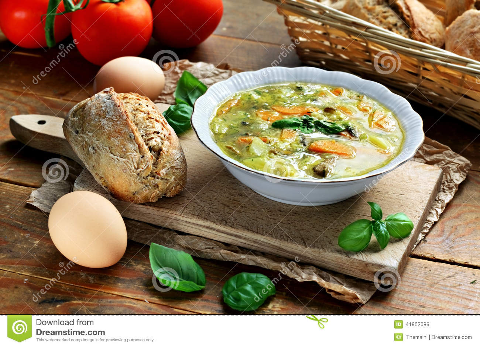 Minestra di verdura dell uovo