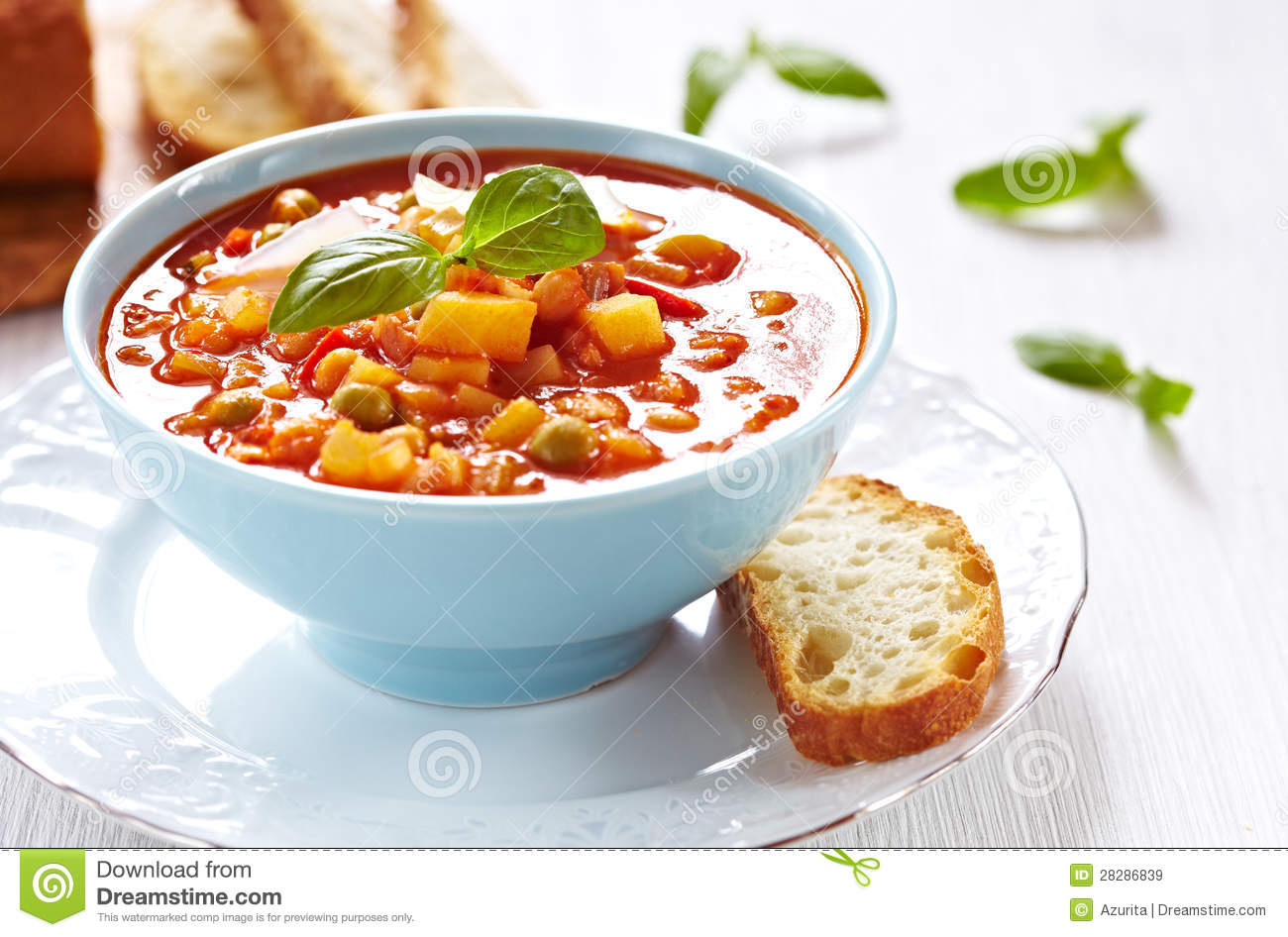 Minestrone Soup With Bread Royalty Free Stock Images - Image: 28286839