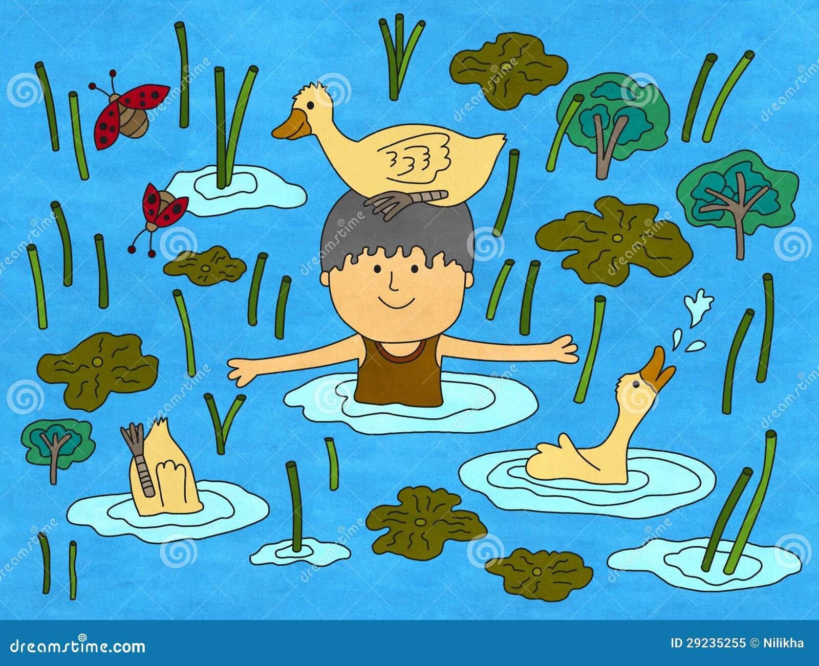 Download Minha lagoa do pato ilustração stock. Ilustração de animal - 29235255