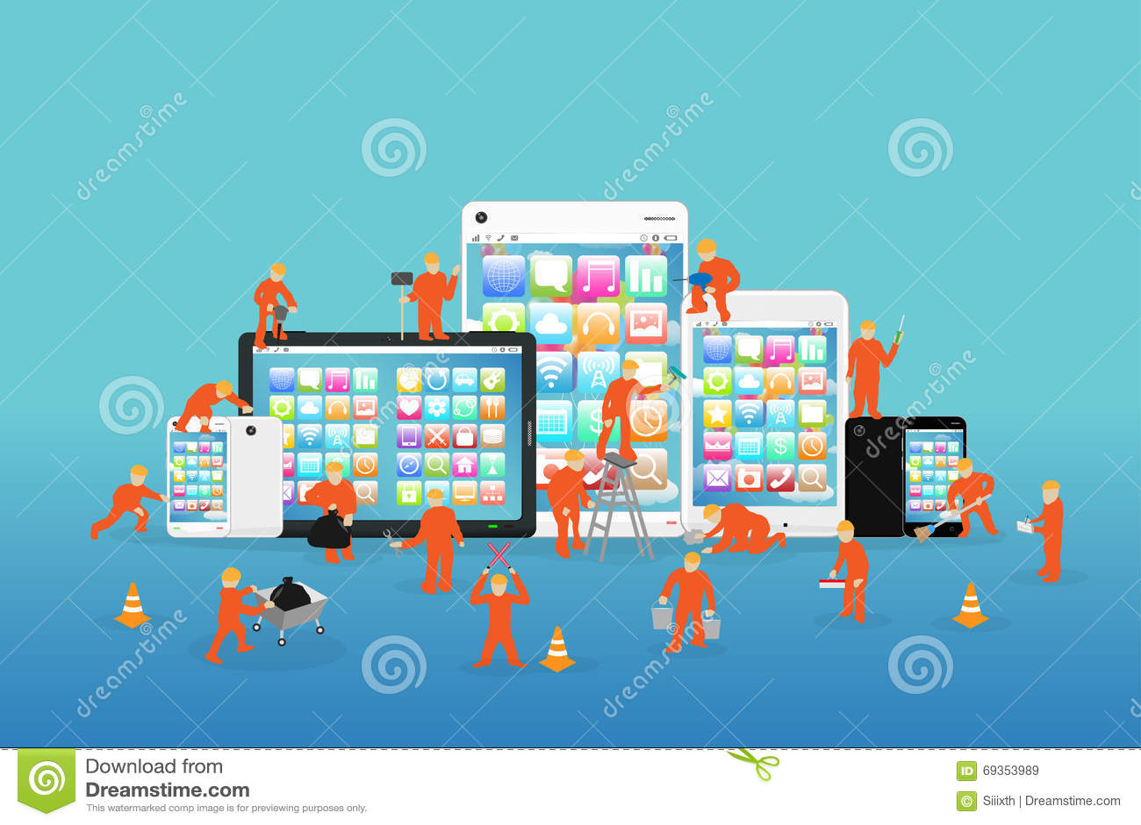 Mini- arbetare som arbetar på en smartphone och en minnestavla