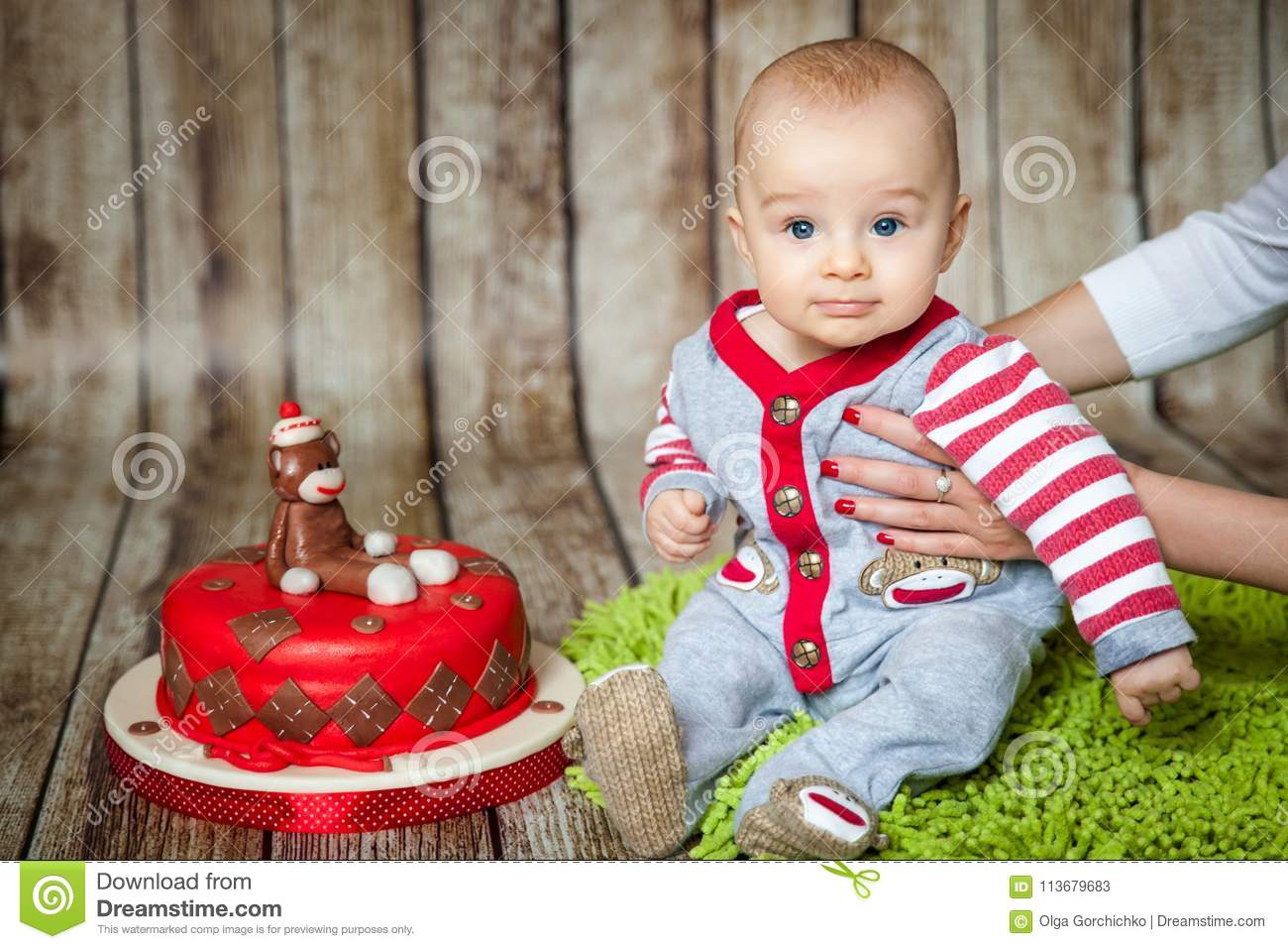 Mini Birthday With Sock Monkey Theme Cute 6 Months Baby Boy In A Costume Sweet Party Cake