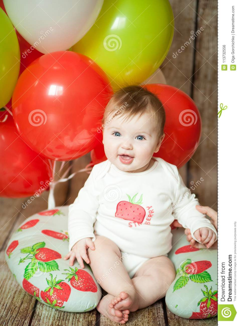Mini Birthday With Strawberry Theme Cute 6 Months Baby Girl Colorful Balloons