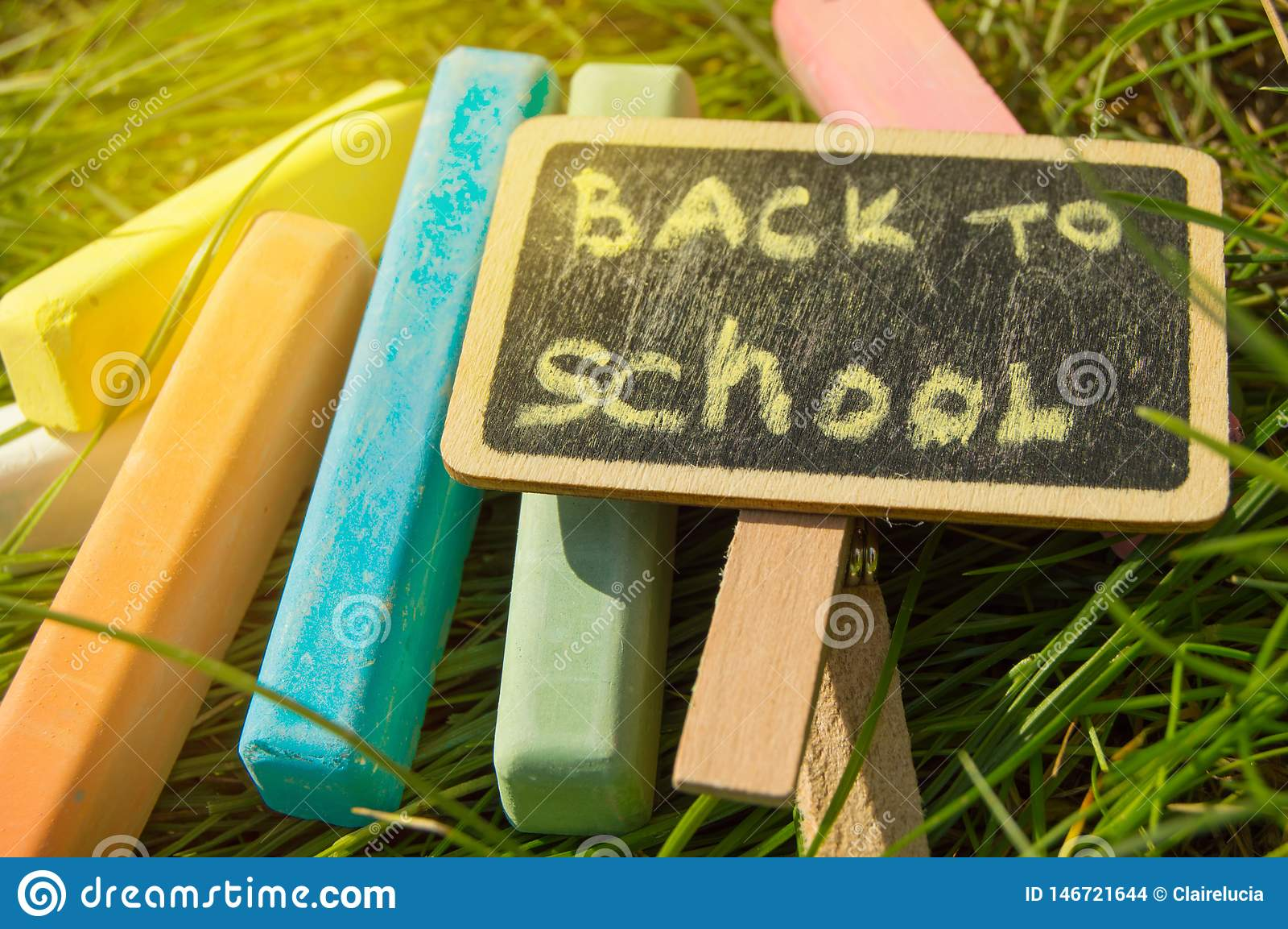 Mini blackboard pisa? Z powrotem szko?a i kolorowa kreda na zielonej trawy tle