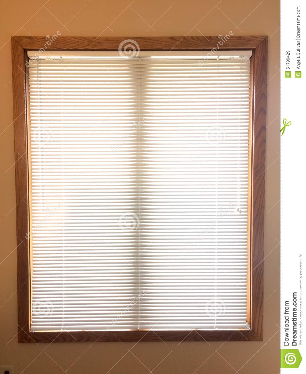 mini blinds on wood window frame