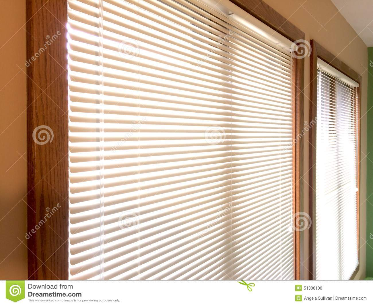Mini Blinds 2 Wood Window Frames Stock Photo - Image of interior ...