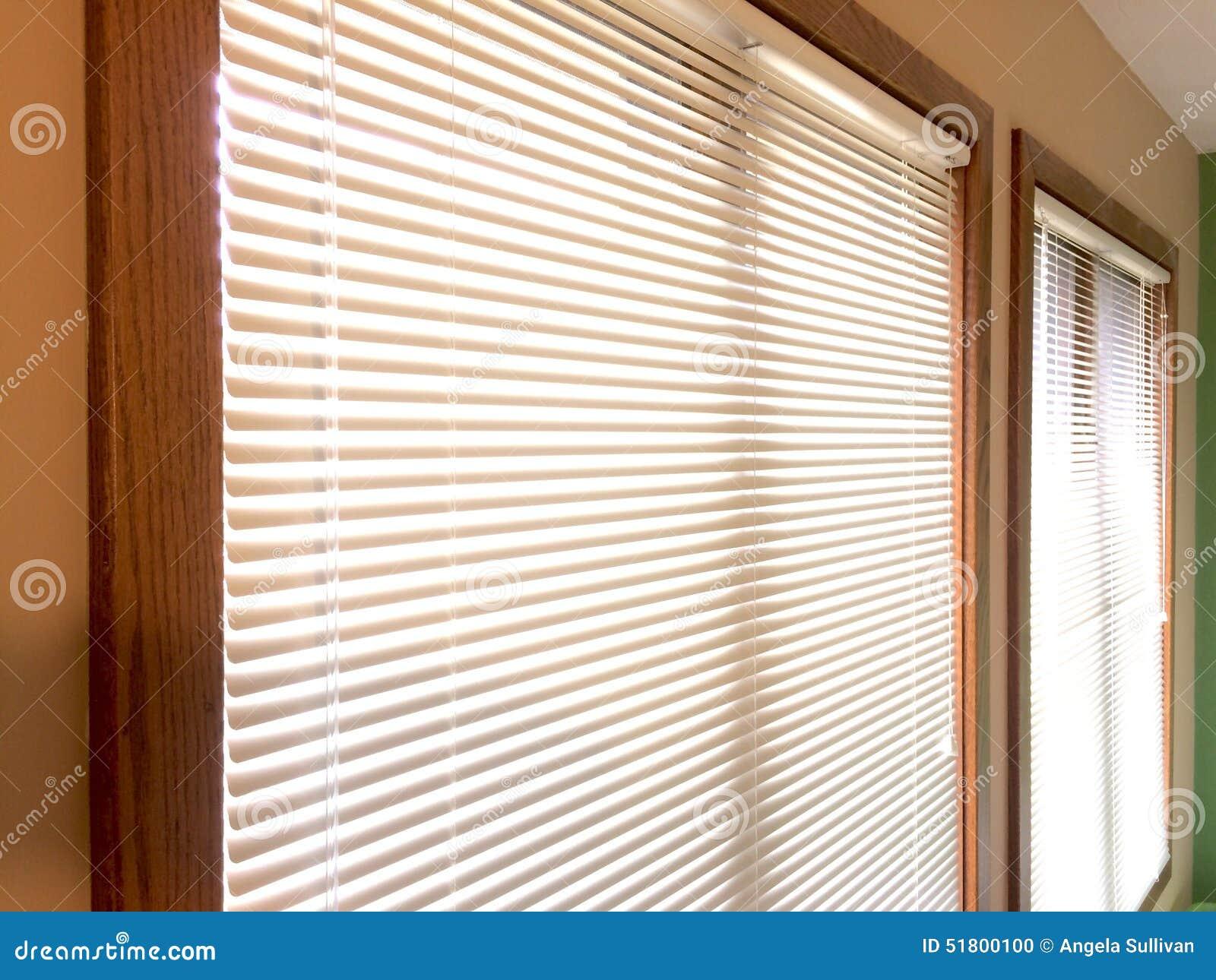 Mini Blinds 2 Wood Window Frames Stock Photo Image 51800100