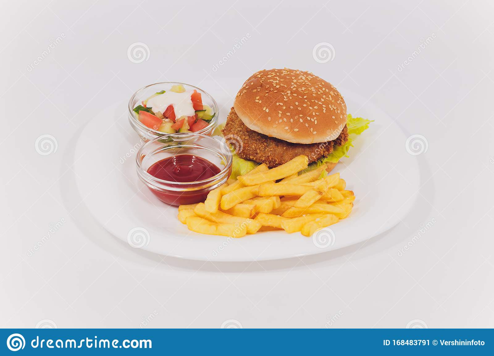 Mini Burger Platter With Fries Salad Isolated On White Background Stock Image Image Of Burger Calories 168483791