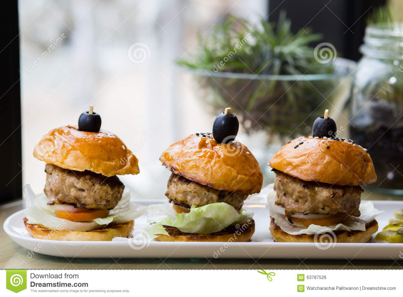 Mini burgers pork stock photo image 63787526 for Table burger
