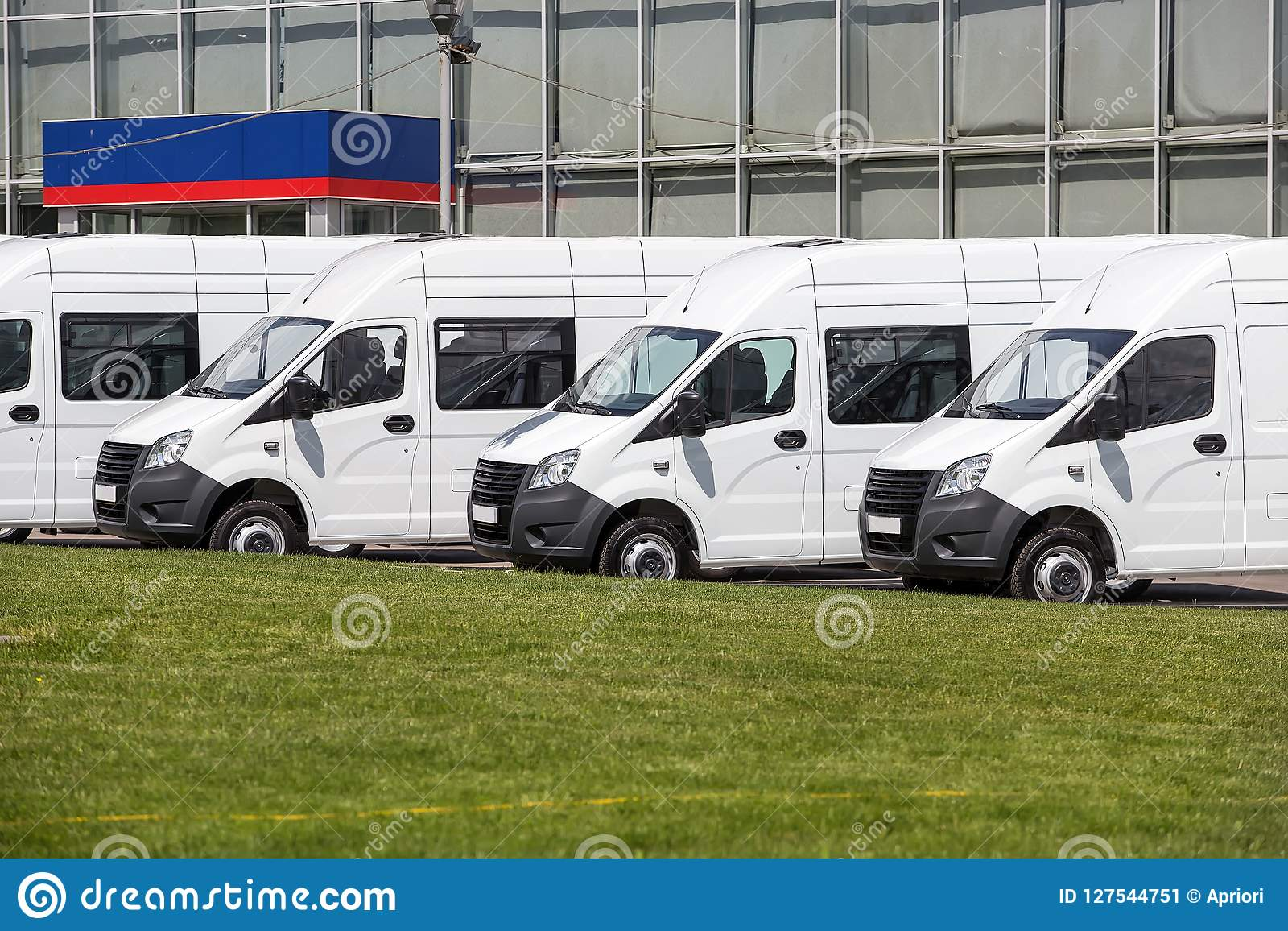 Mini Buses For Sale Stock Lot Row  Stock Image - Image of