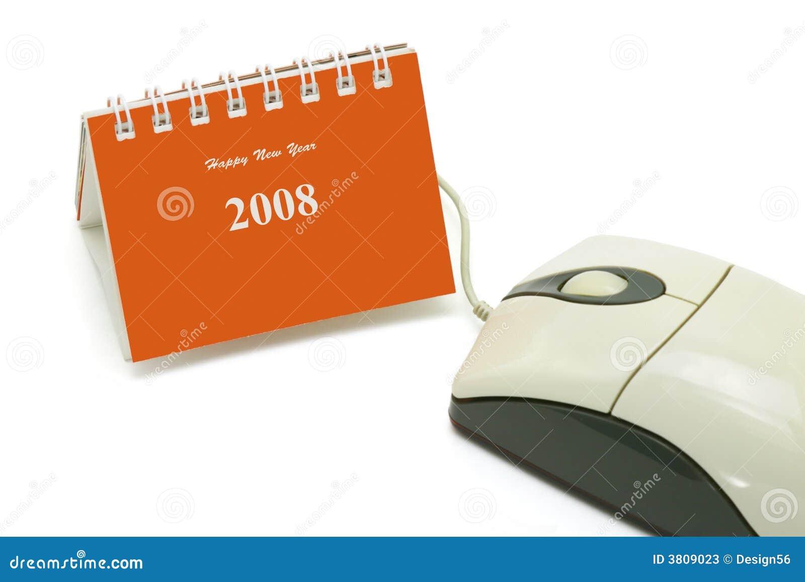 Mini calendário do desktop e rato do computador