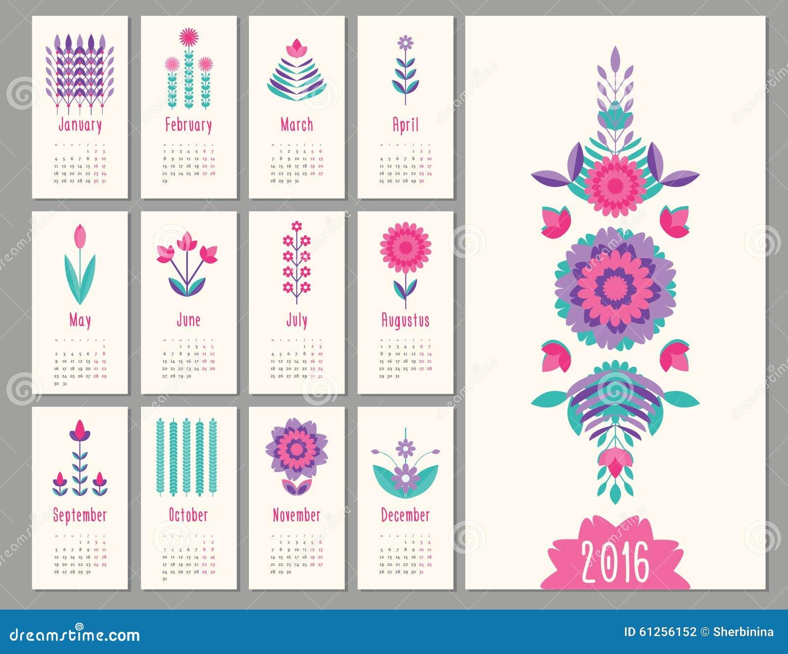 Mini Calendario.Mini Calendario Floral 2016 Ilustracion Del Vector