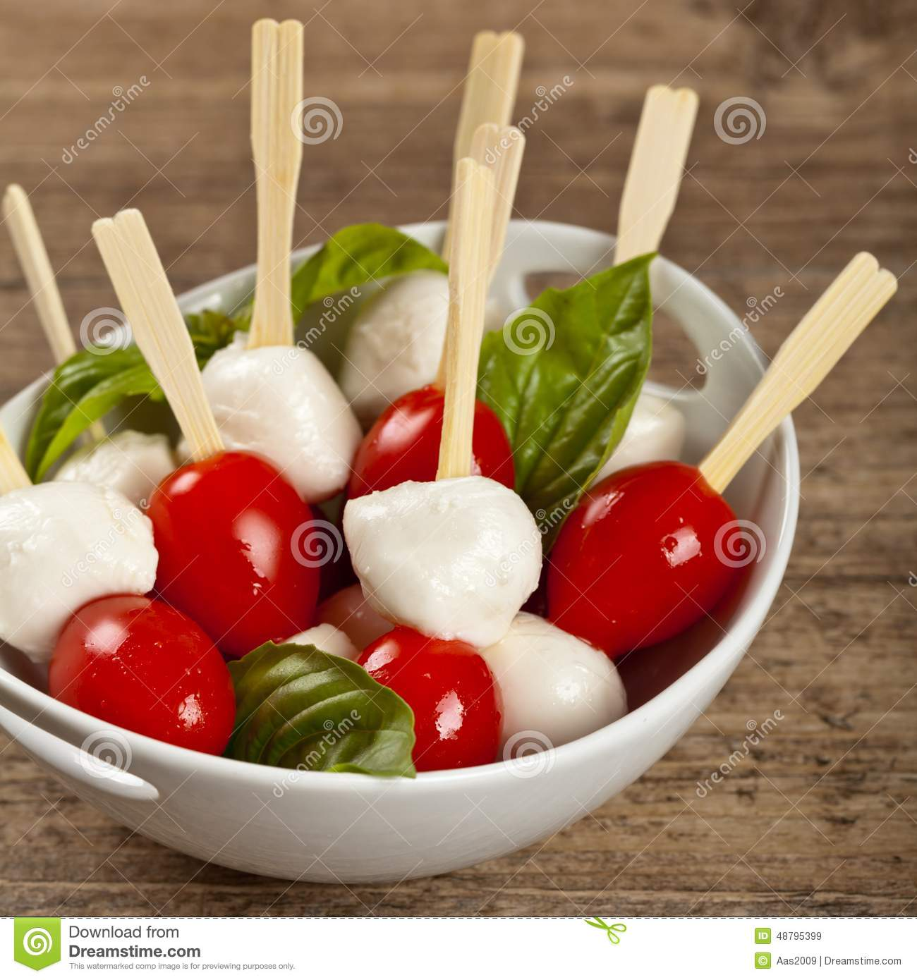 Mini caprese finger food stock photo image 48795399 for Mozzarella canape