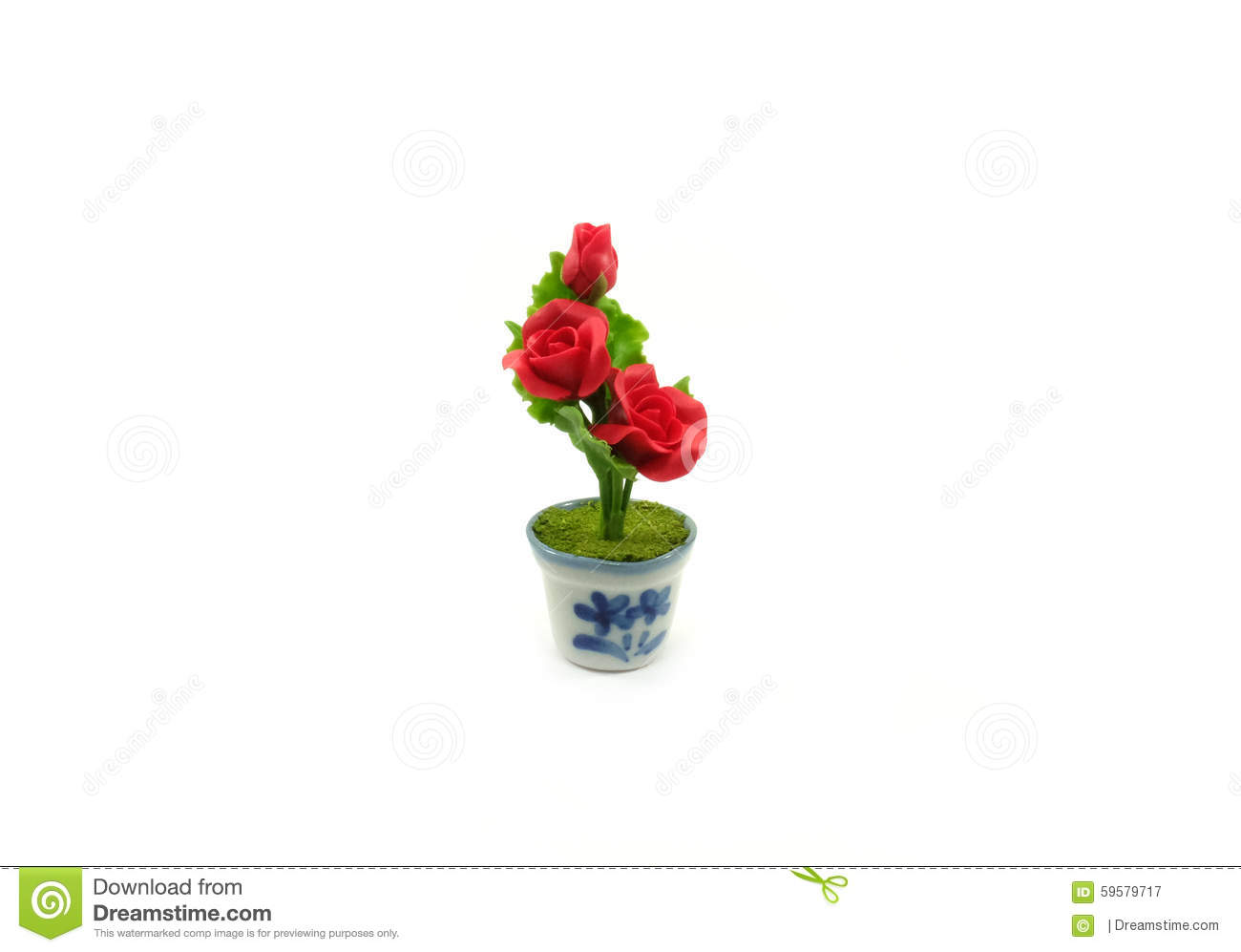 197 & Mini Clay Rose Flower In The Pot Stock Image - Image of ...