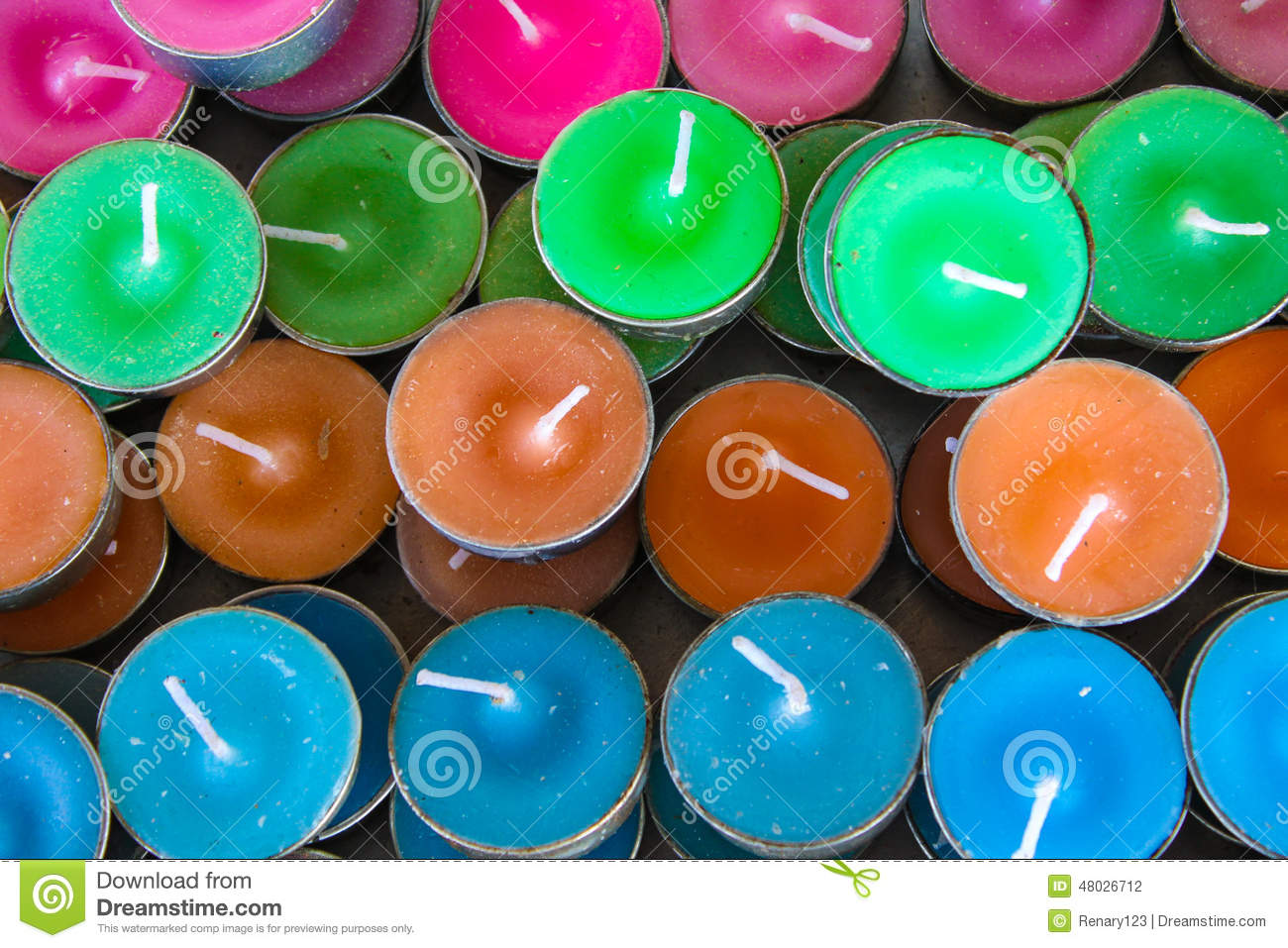 mini color candle stock photo image 48026712