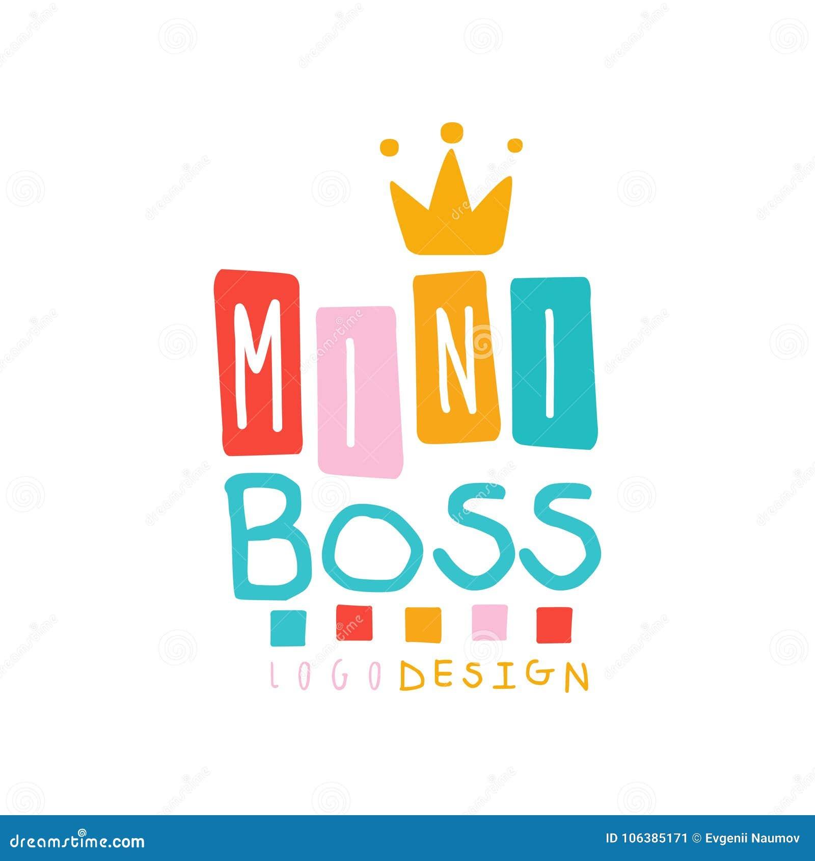 Mini conception de logo de patron de bébé créatif avec le lettrage et la couronne d or Emblème pour le promo ou les affaires Tiré