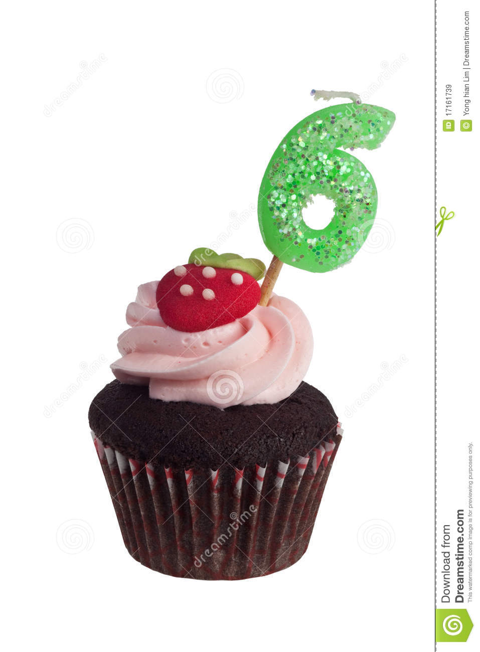 Mini Cupcake With Birthday Candle For Six Year Old Stock