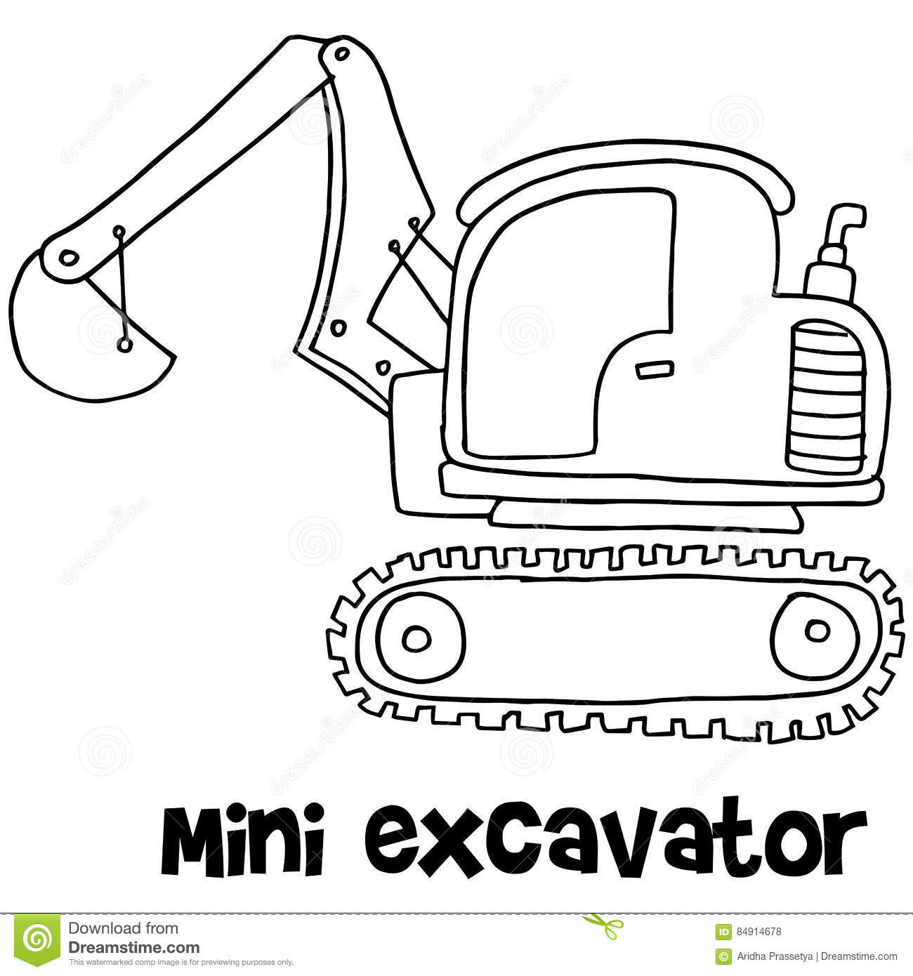 Mini Excavator With Hand Draw Stock Vector - Illustration of loader