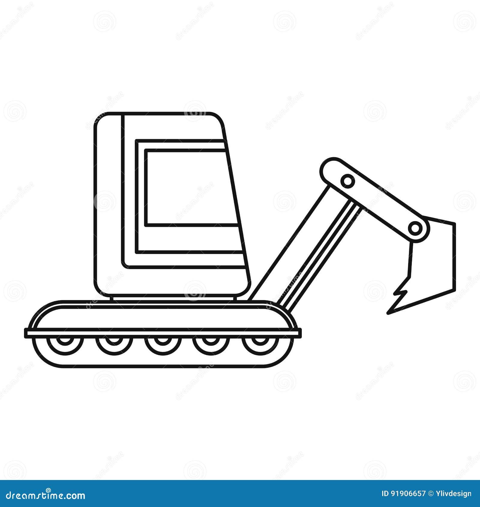 Download Mini Excavator Icon Outline Stock Vector
