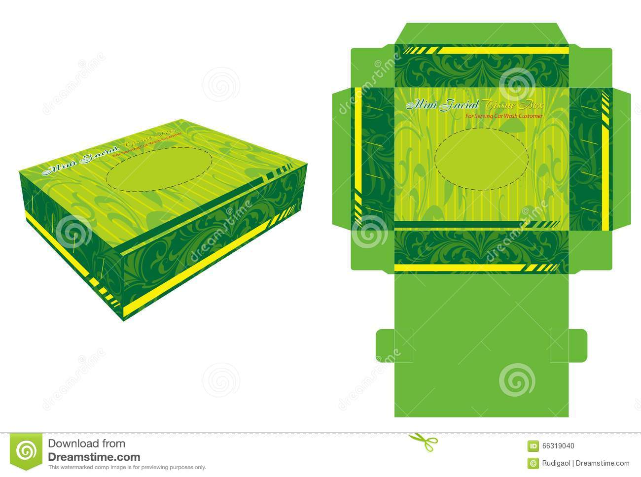 Background And Die Cut Template For Facial Tissue Box